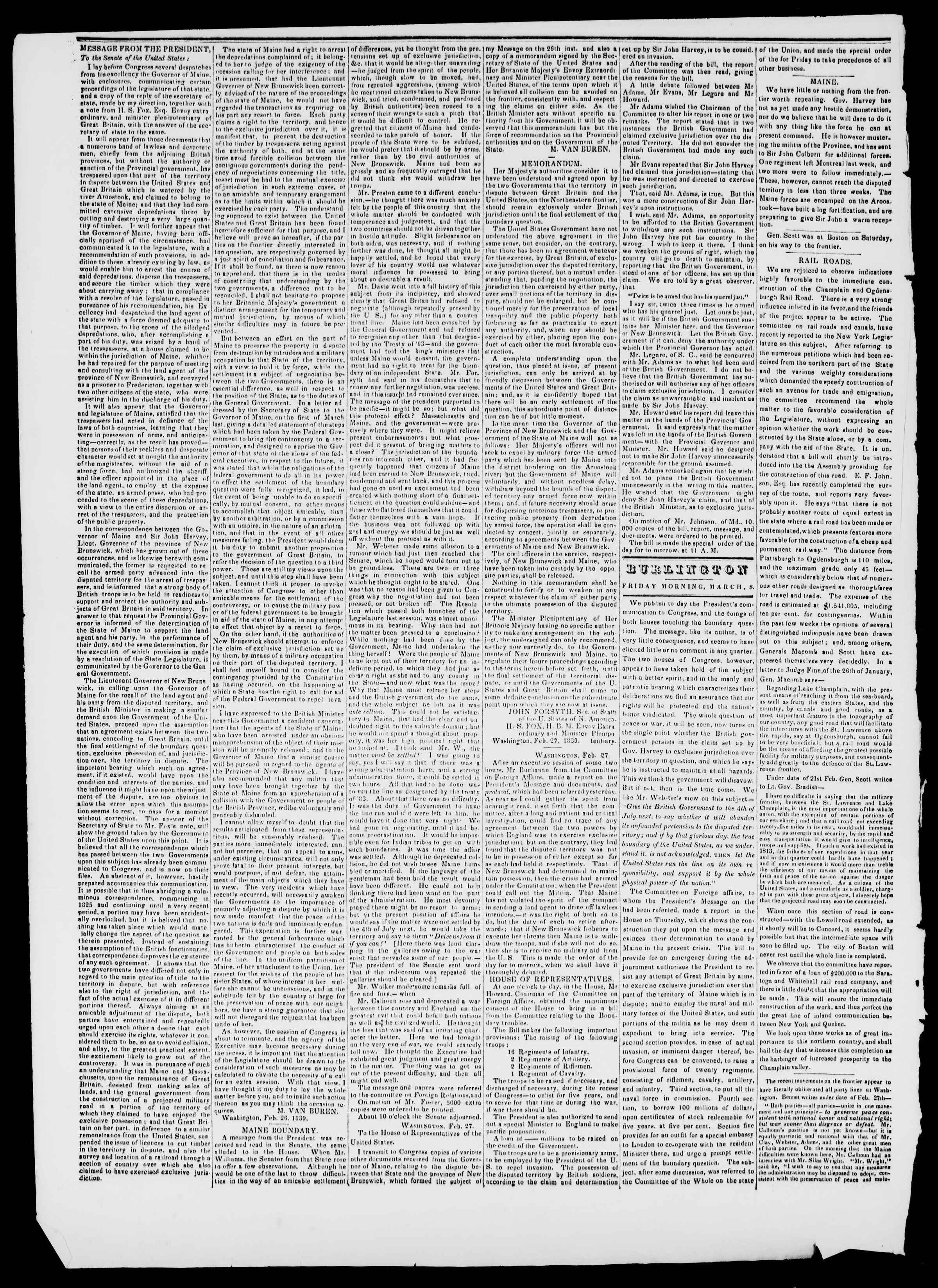 Newspaper of Burlington Free Press dated March 8, 1839 Page 2