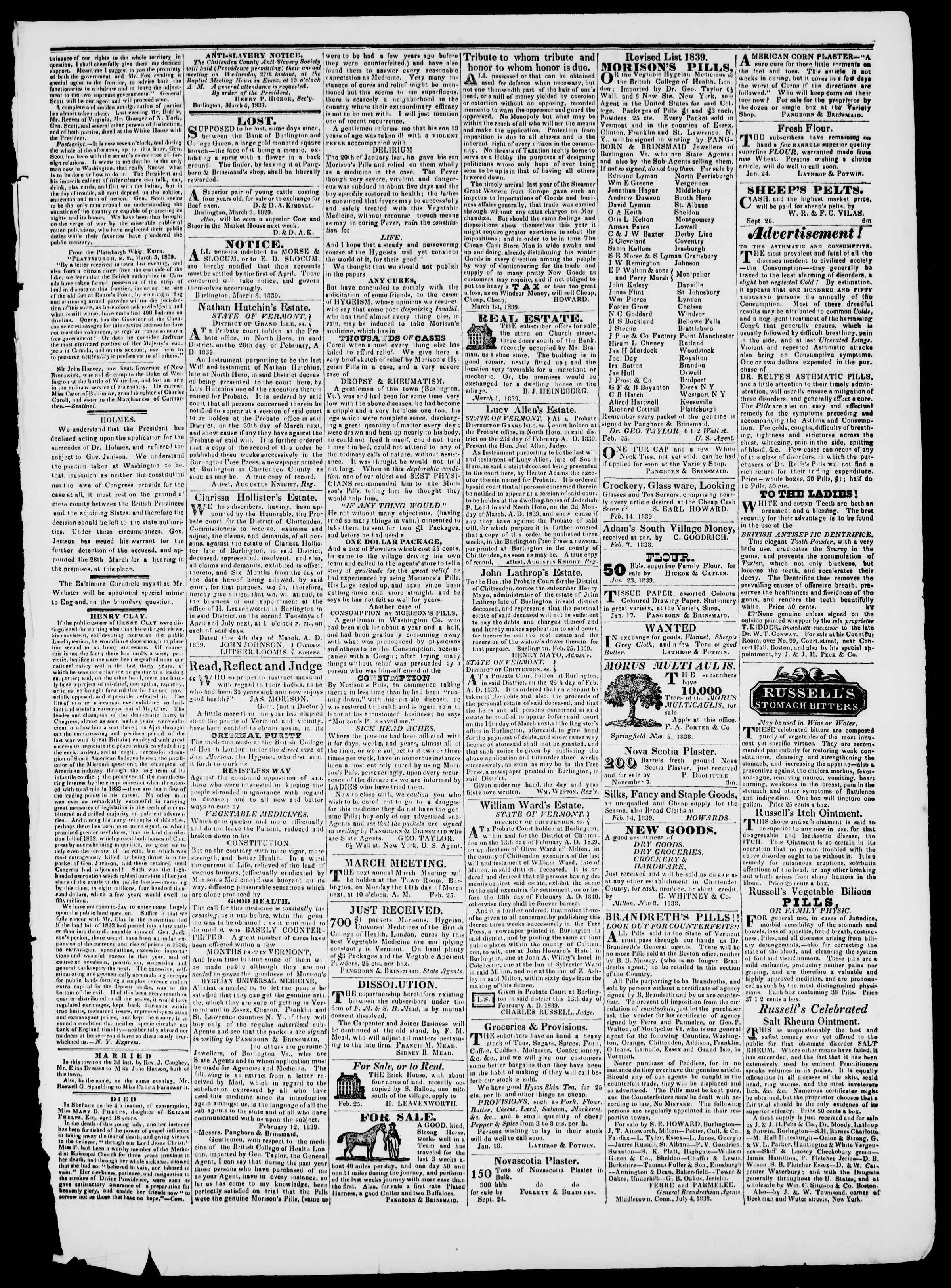 Newspaper of Burlington Free Press dated March 8, 1839 Page 3