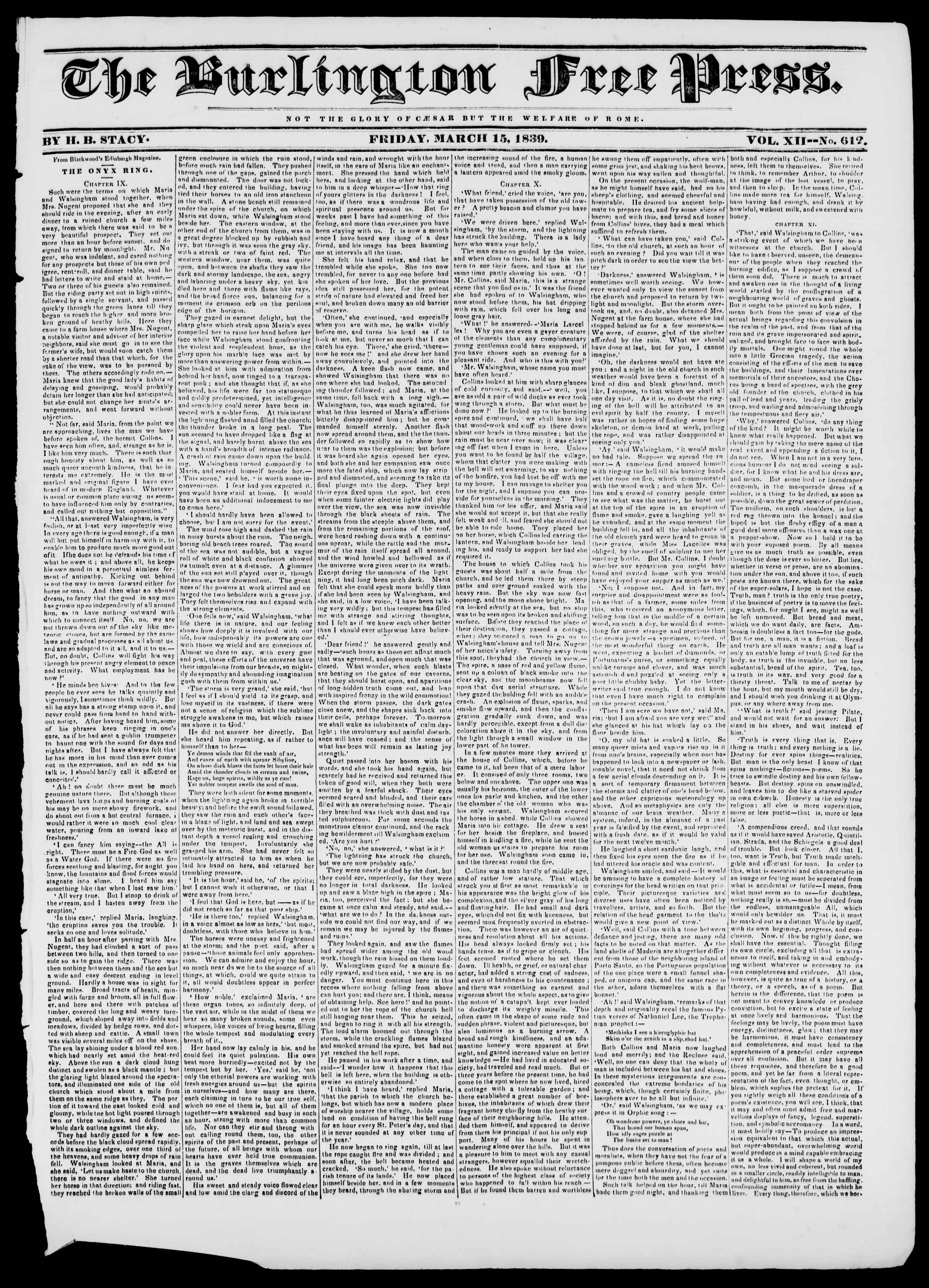 Newspaper of Burlington Free Press dated March 15, 1839 Page 1