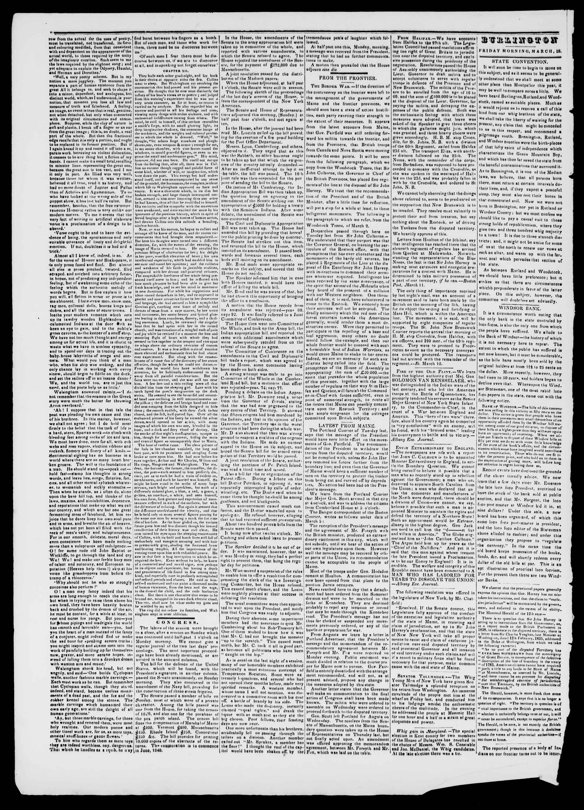 Newspaper of Burlington Free Press dated 15 Mart 1839 Page 2