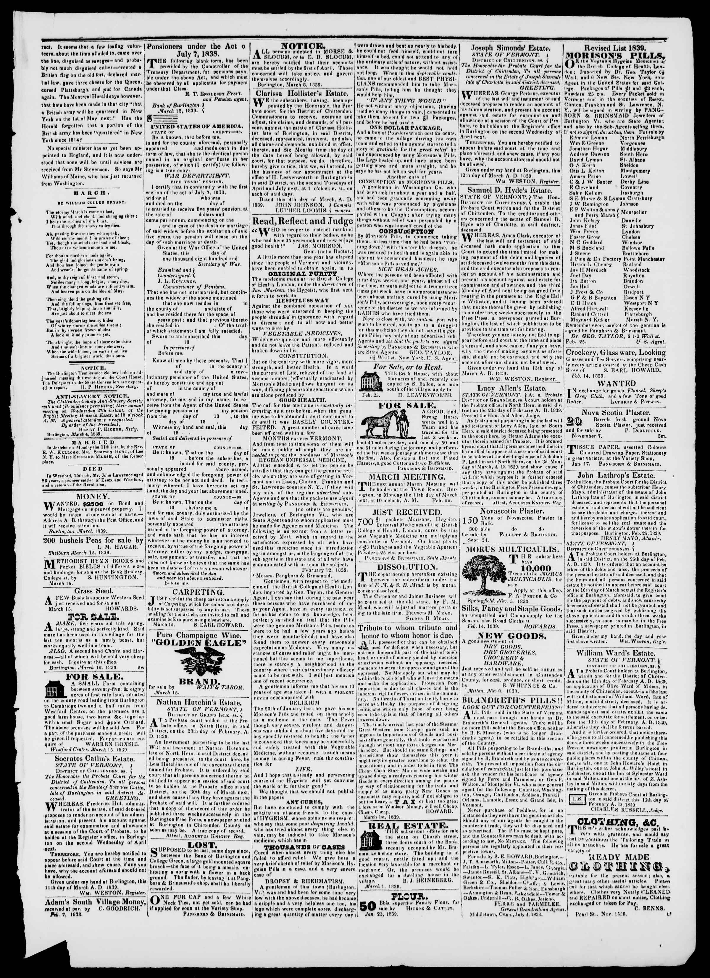 Newspaper of Burlington Free Press dated March 15, 1839 Page 3