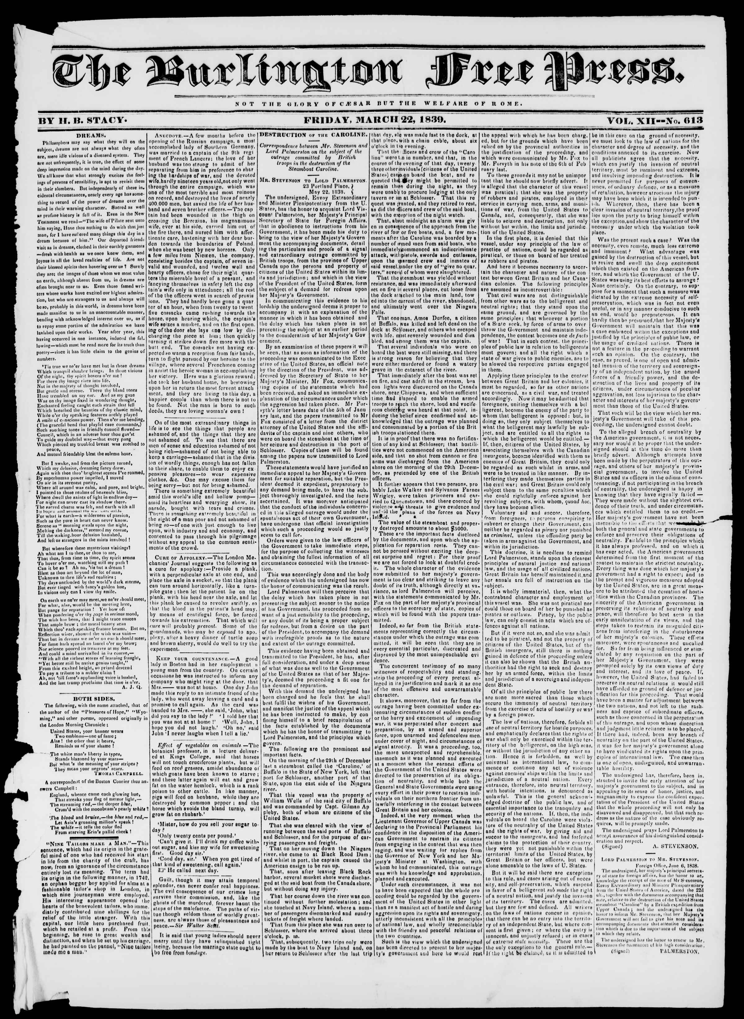 Newspaper of Burlington Free Press dated March 22, 1839 Page 1