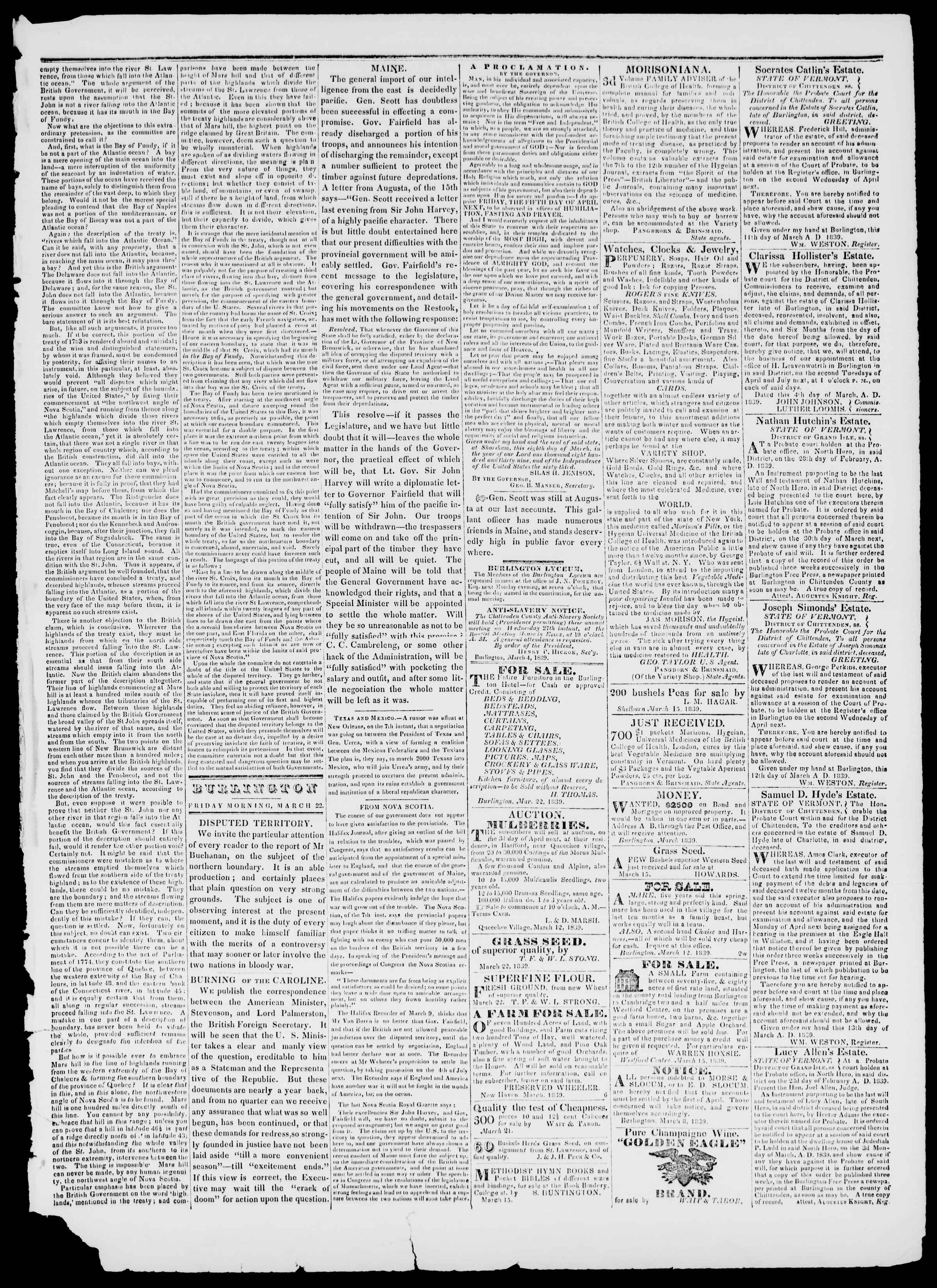 Newspaper of Burlington Free Press dated March 22, 1839 Page 3