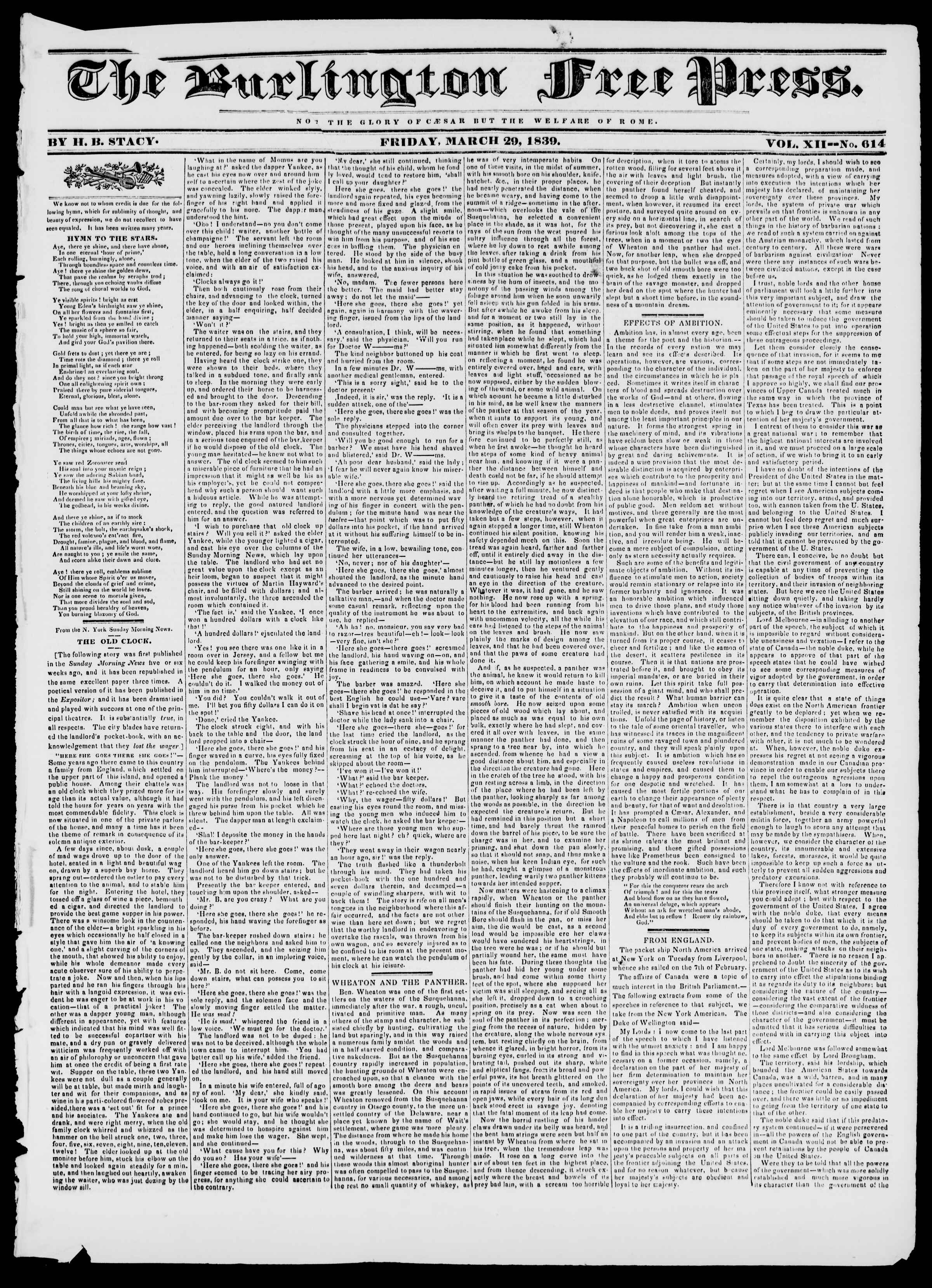 Newspaper of Burlington Free Press dated March 29, 1839 Page 1