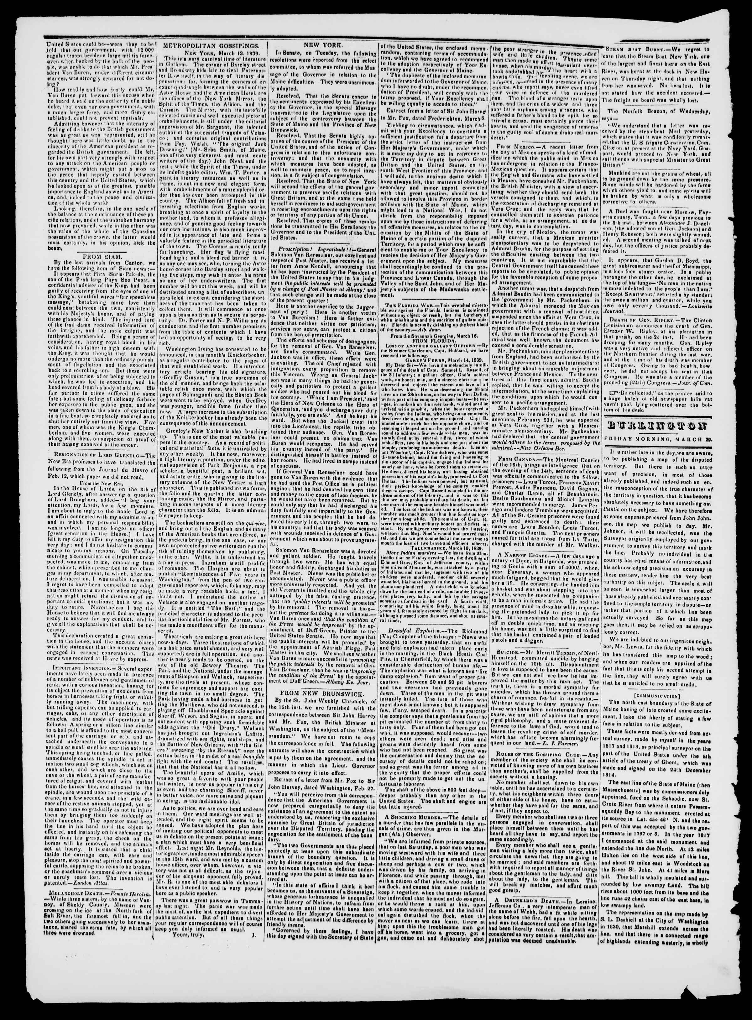 Newspaper of Burlington Free Press dated March 29, 1839 Page 2