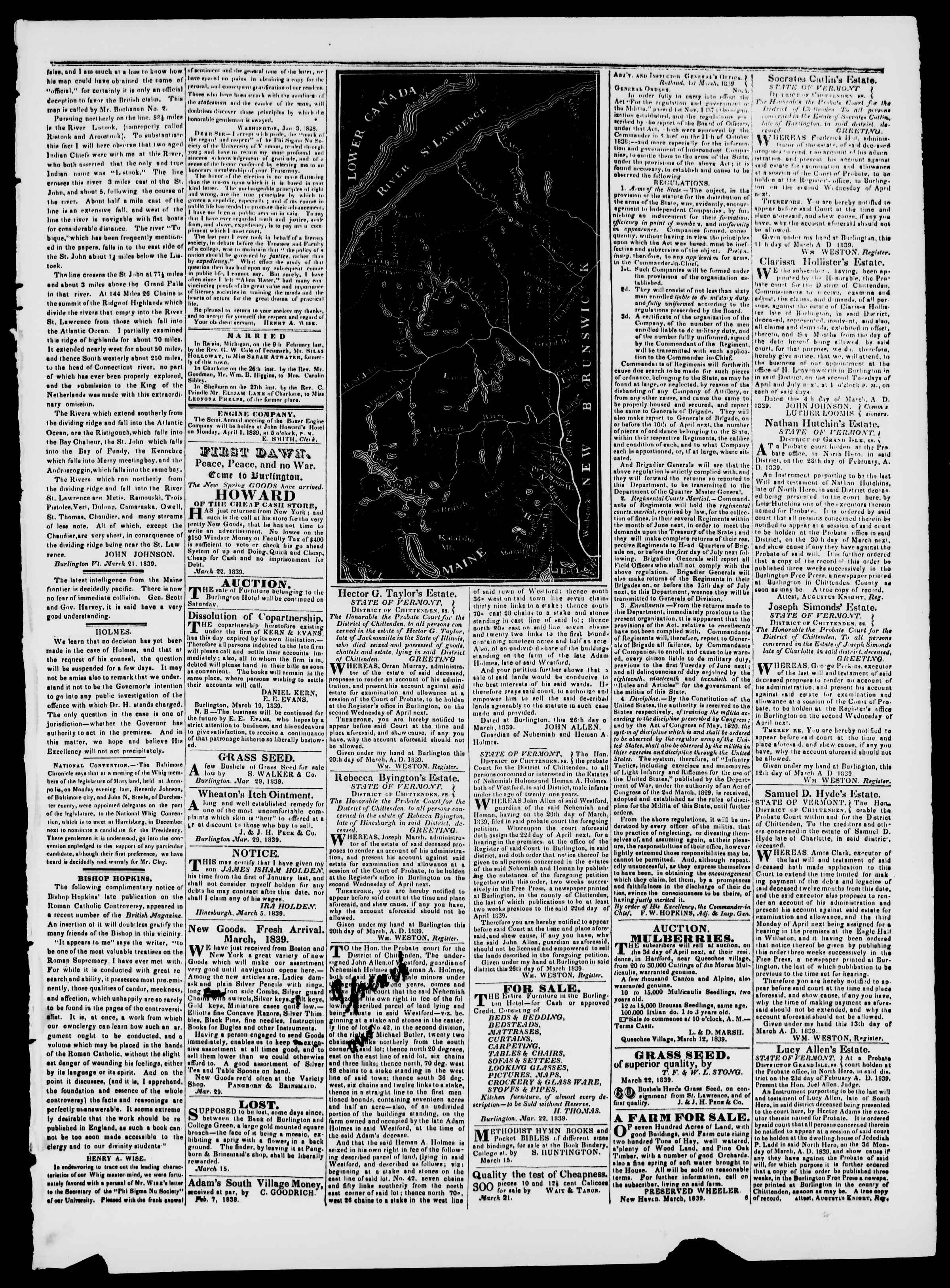 Newspaper of Burlington Free Press dated March 29, 1839 Page 3