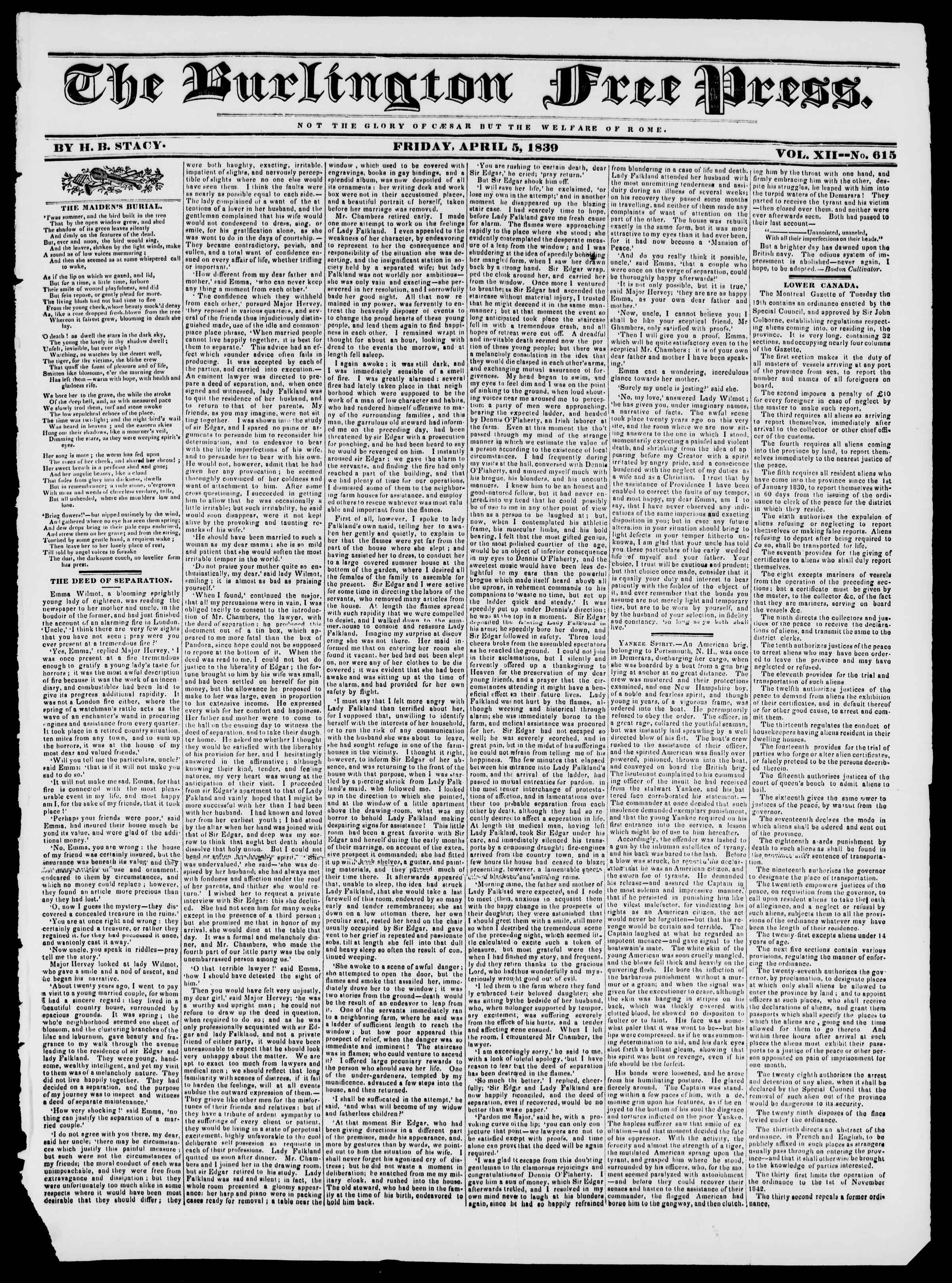 Newspaper of Burlington Free Press dated April 5, 1839 Page 1