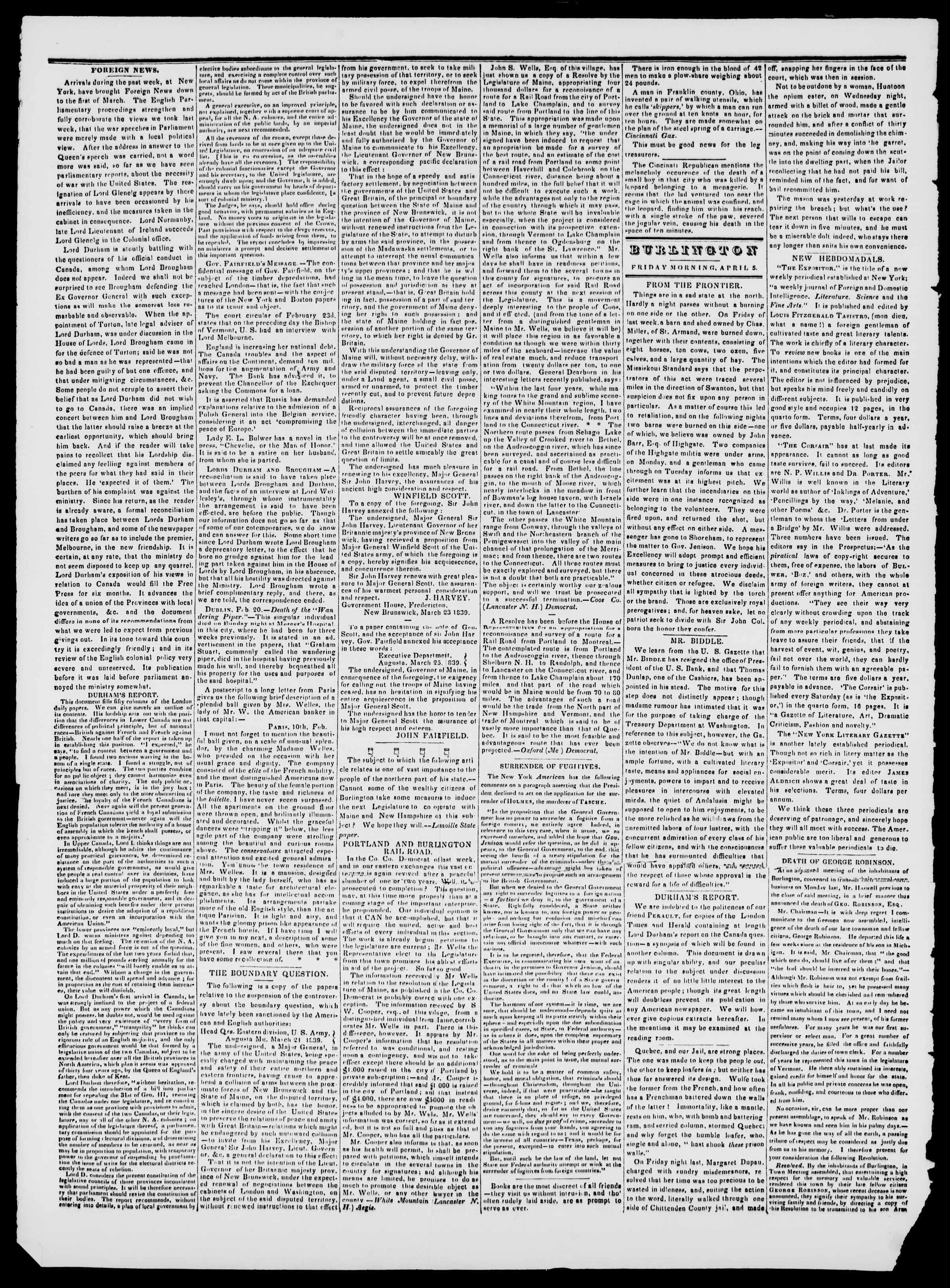 Newspaper of Burlington Free Press dated April 5, 1839 Page 2