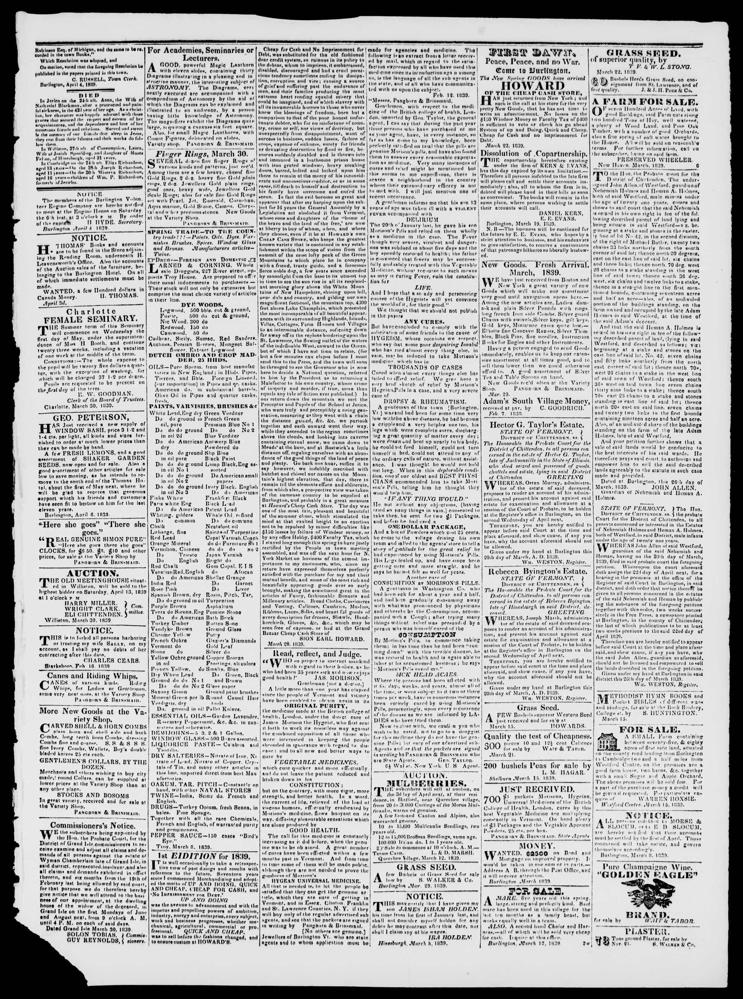 Newspaper of Burlington Free Press dated April 5, 1839 Page 3