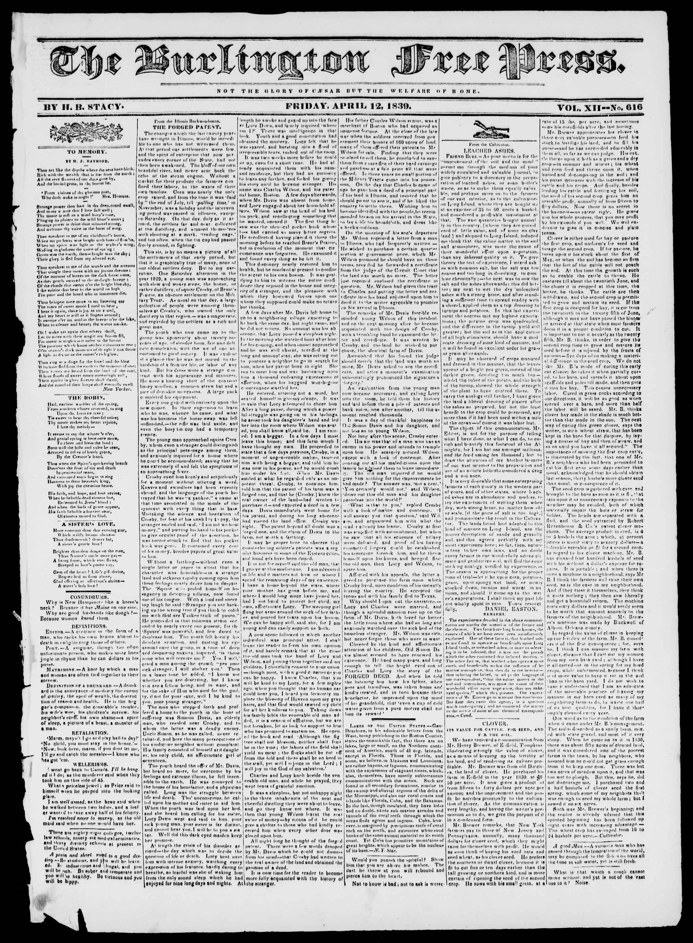 Newspaper of Burlington Free Press dated April 12, 1839 Page 1