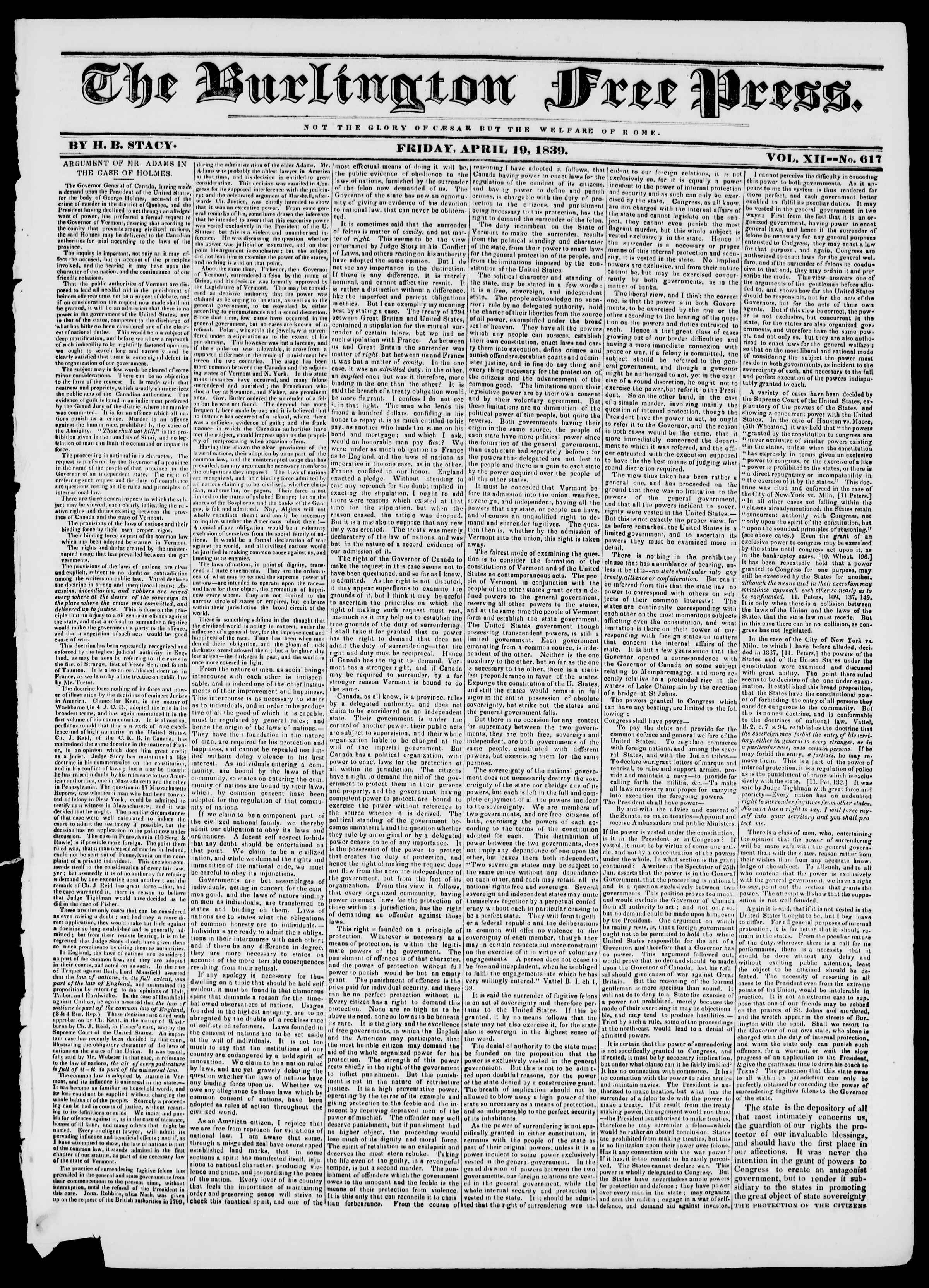 Newspaper of Burlington Free Press dated April 19, 1839 Page 1