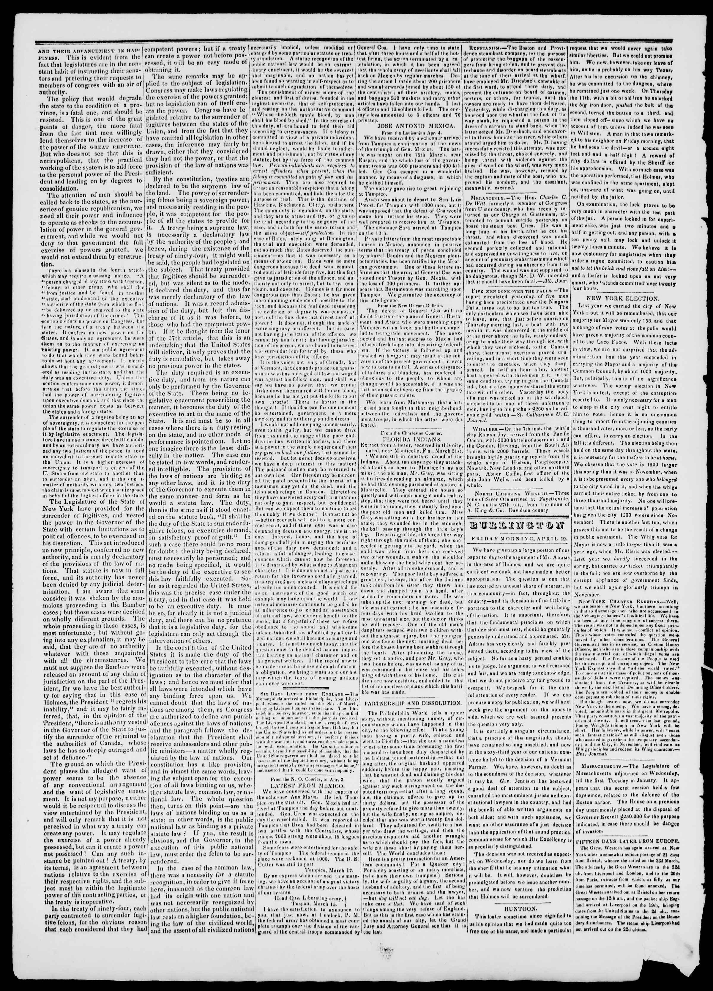 Newspaper of Burlington Free Press dated April 19, 1839 Page 2