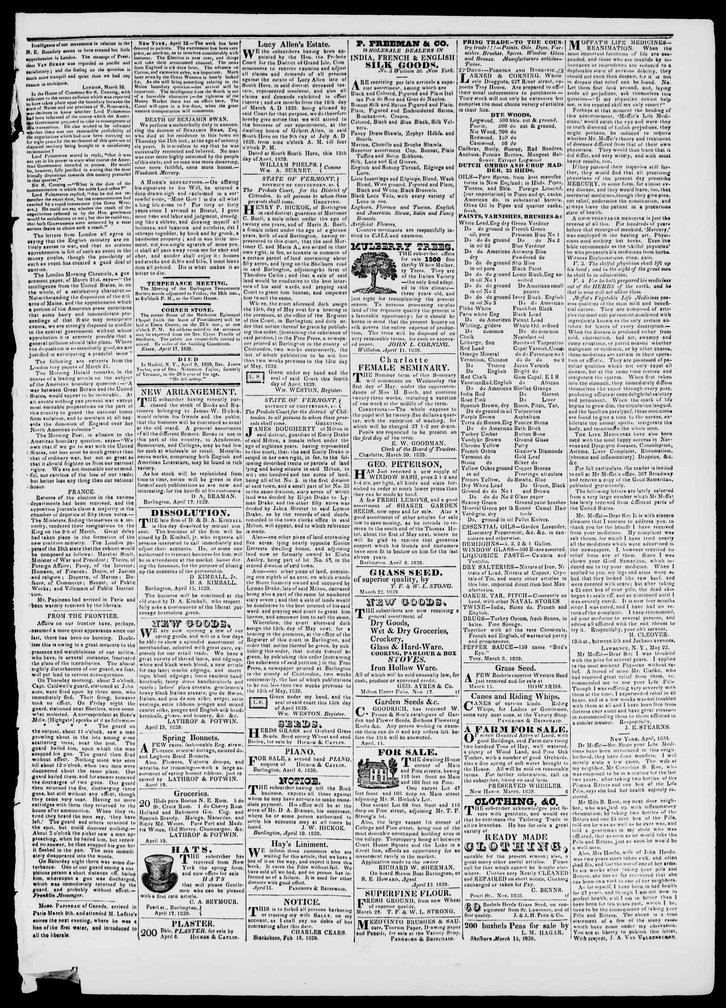 Newspaper of Burlington Free Press dated April 19, 1839 Page 3
