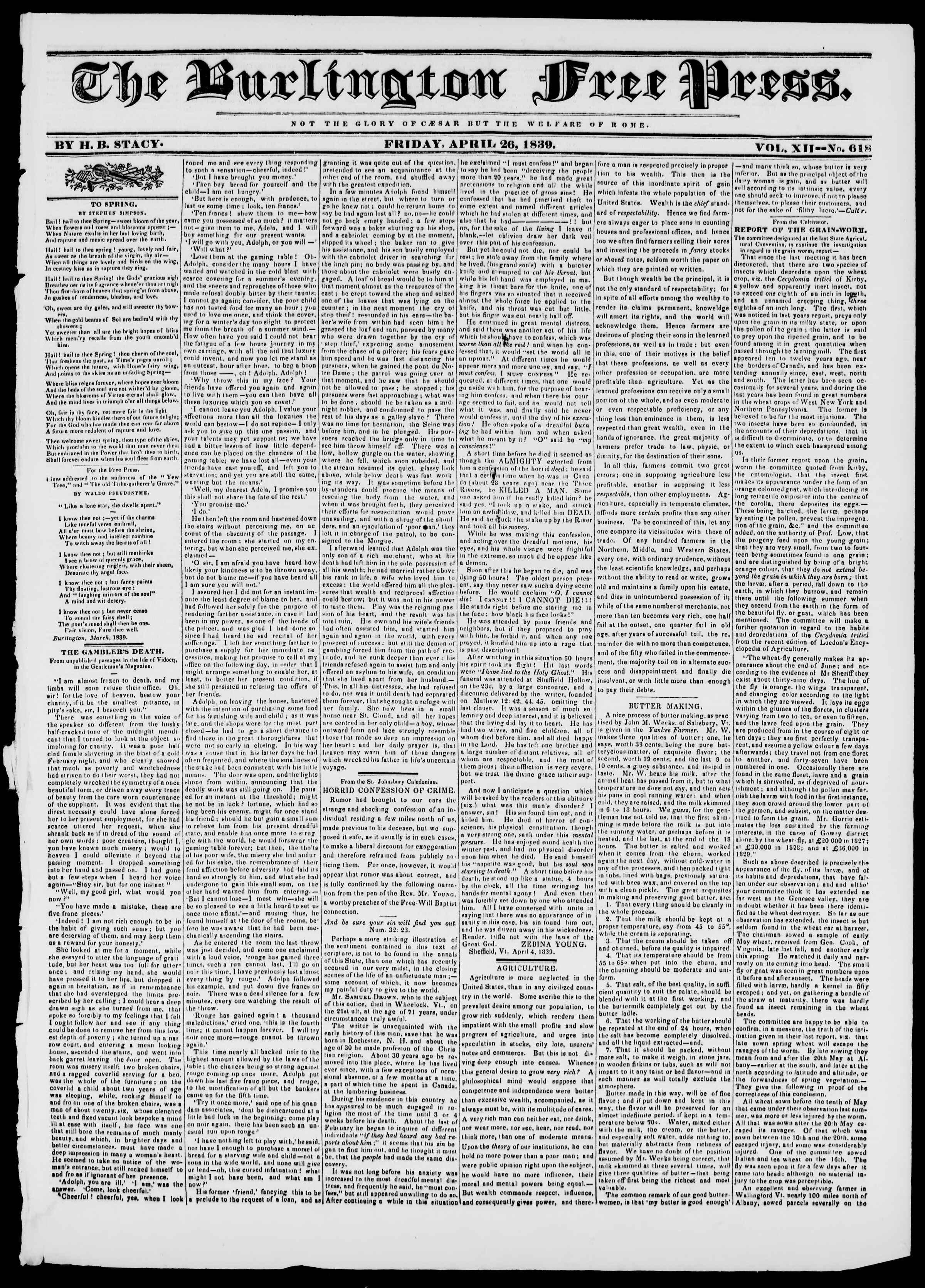 Newspaper of Burlington Free Press dated April 26, 1839 Page 1