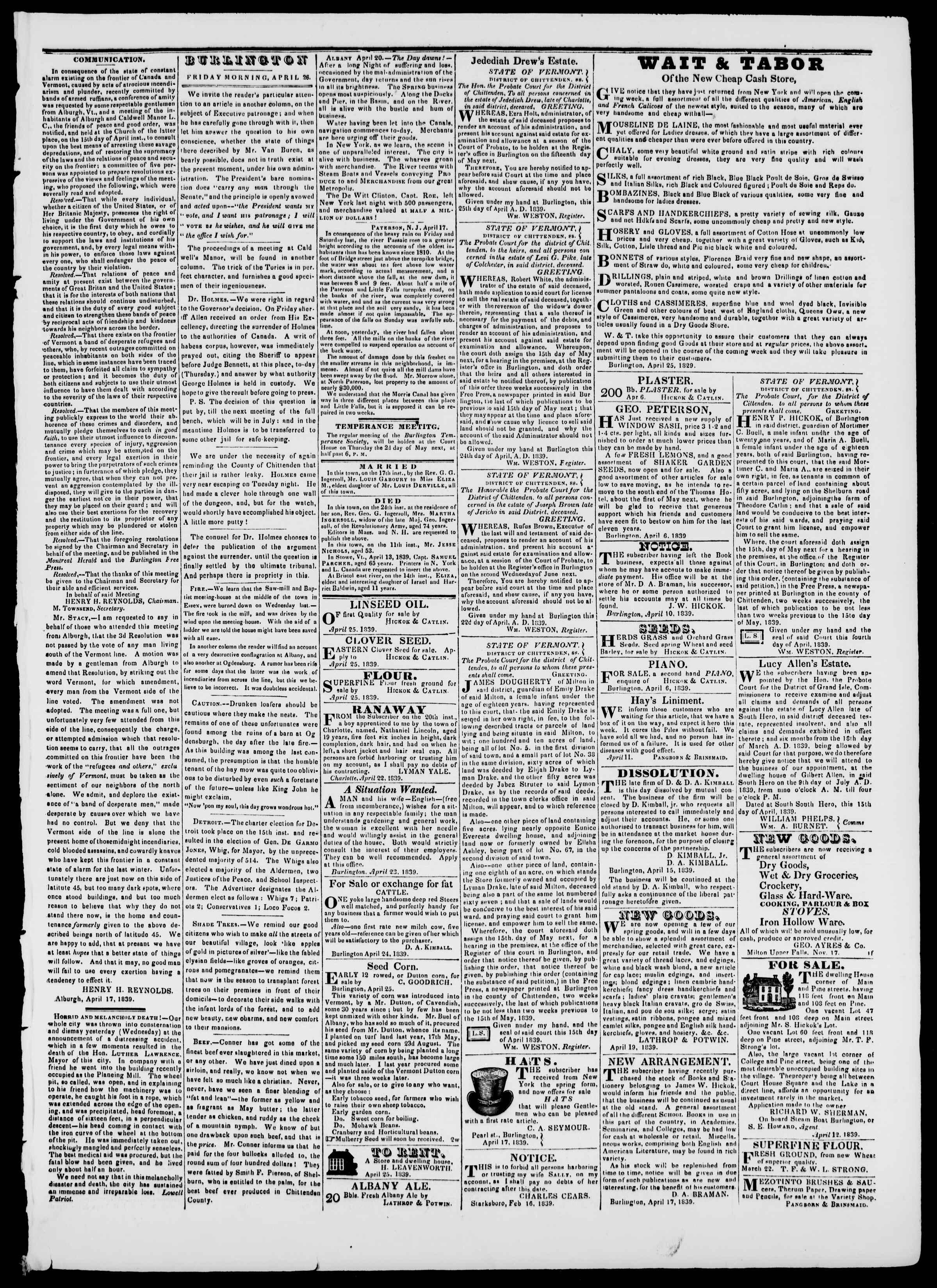 Newspaper of Burlington Free Press dated April 26, 1839 Page 3