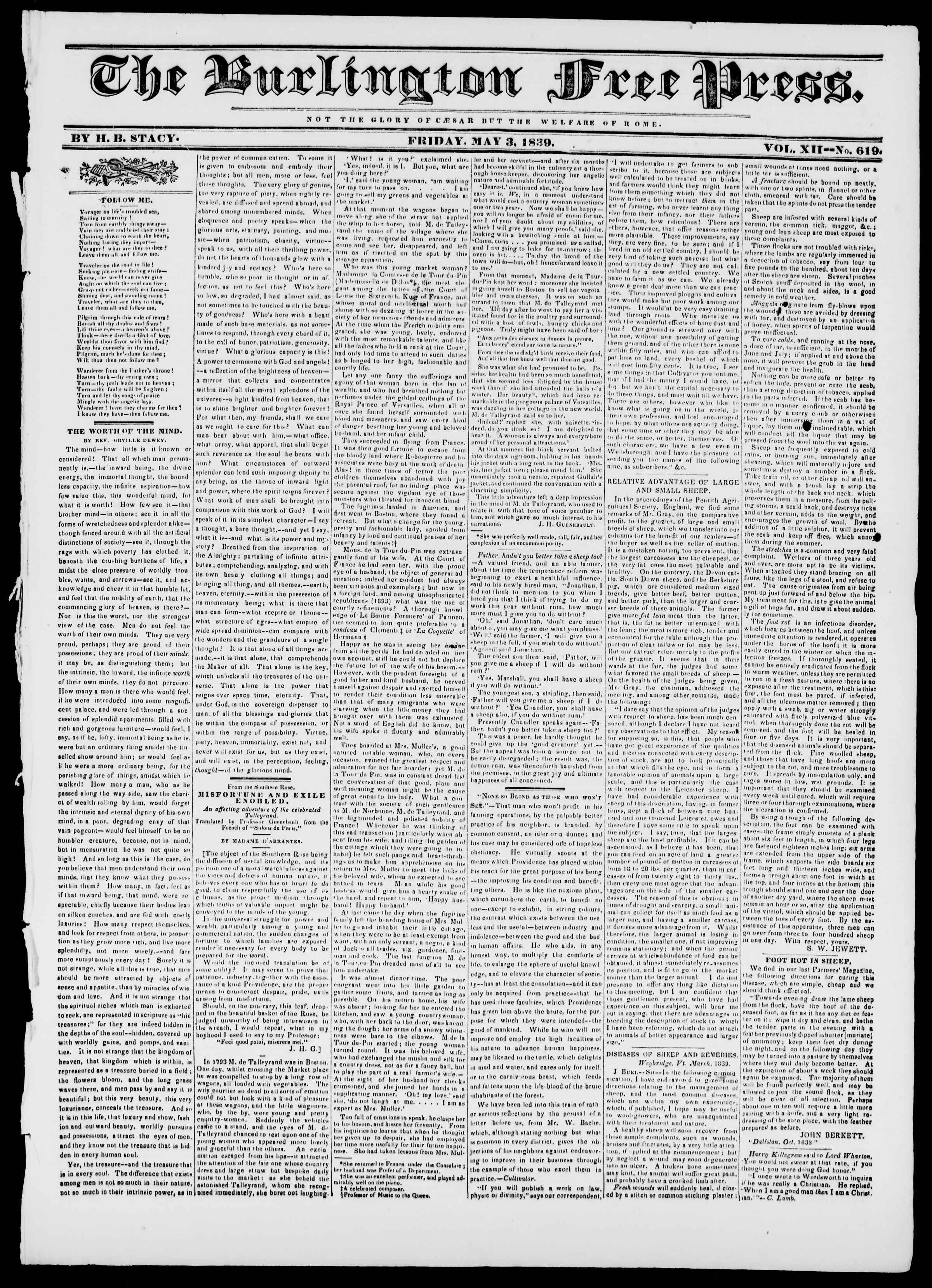 Newspaper of Burlington Free Press dated May 3, 1839 Page 1