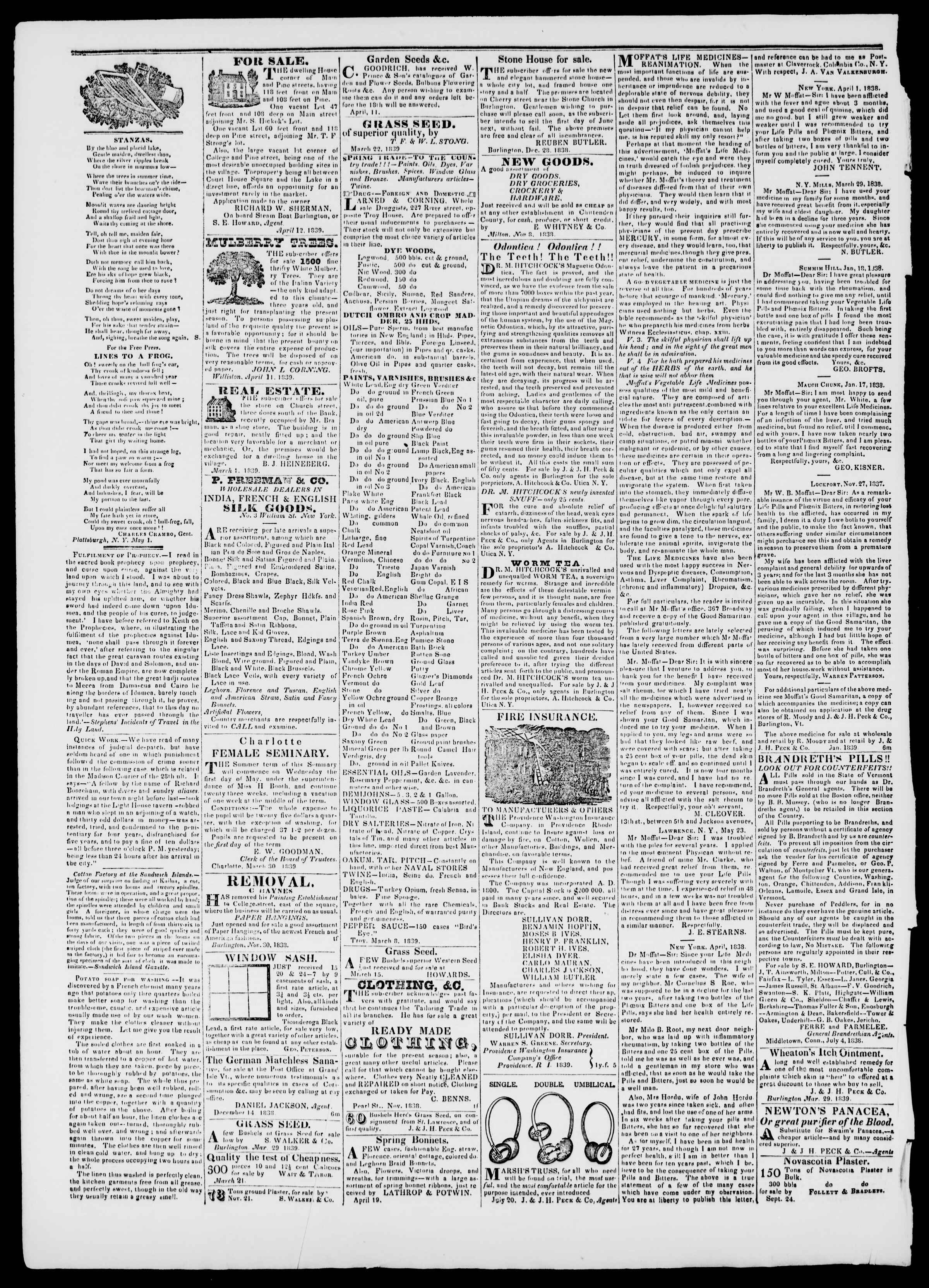 Newspaper of Burlington Free Press dated May 3, 1839 Page 4