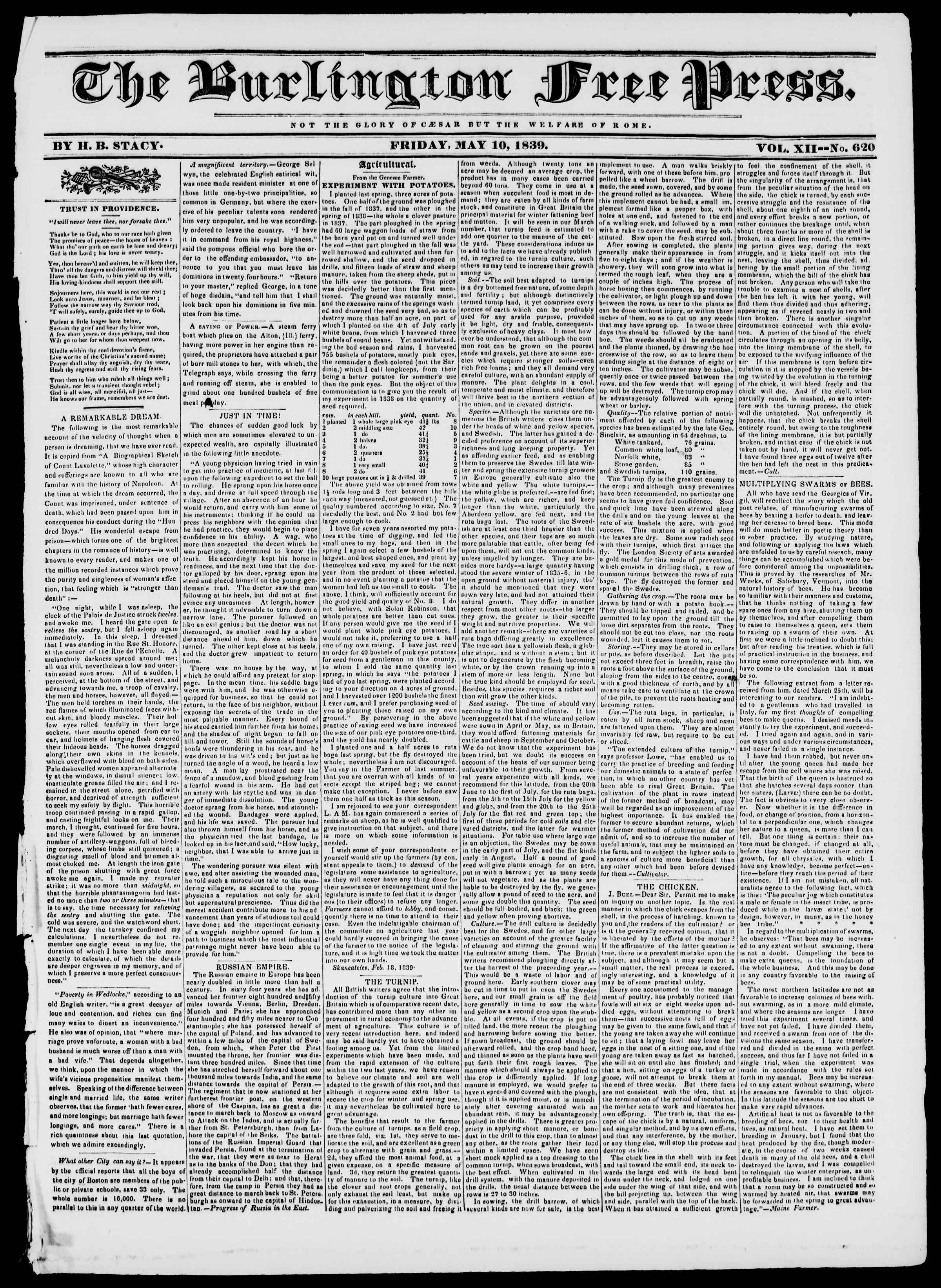 10 Mayıs 1839 tarihli Burlington Free Press Gazetesi Sayfa 1