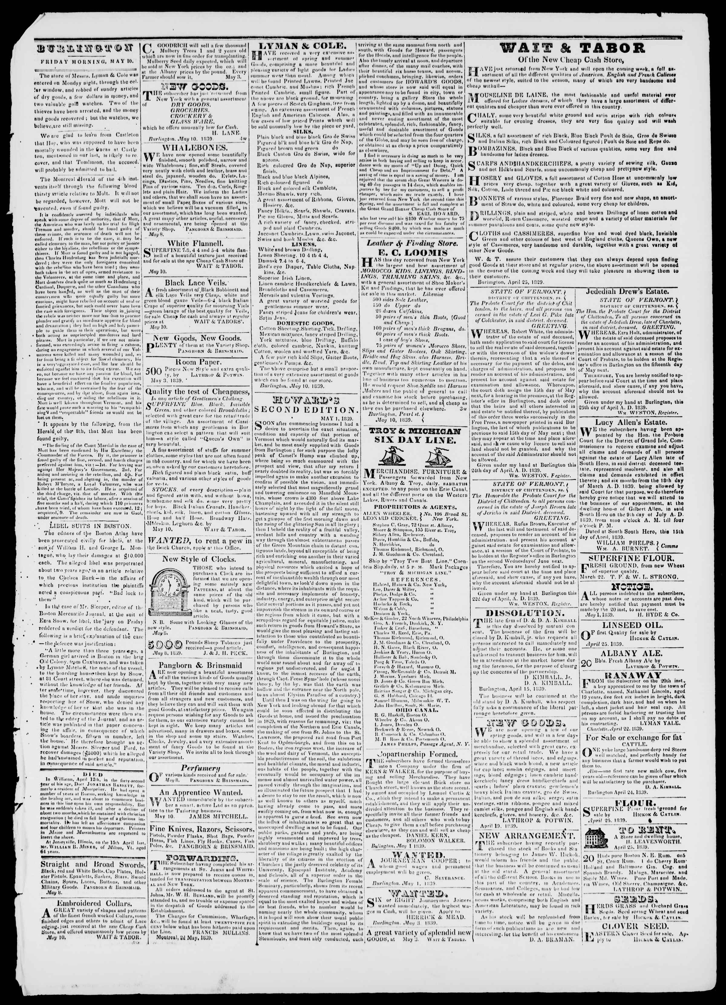 Newspaper of Burlington Free Press dated May 10, 1839 Page 3