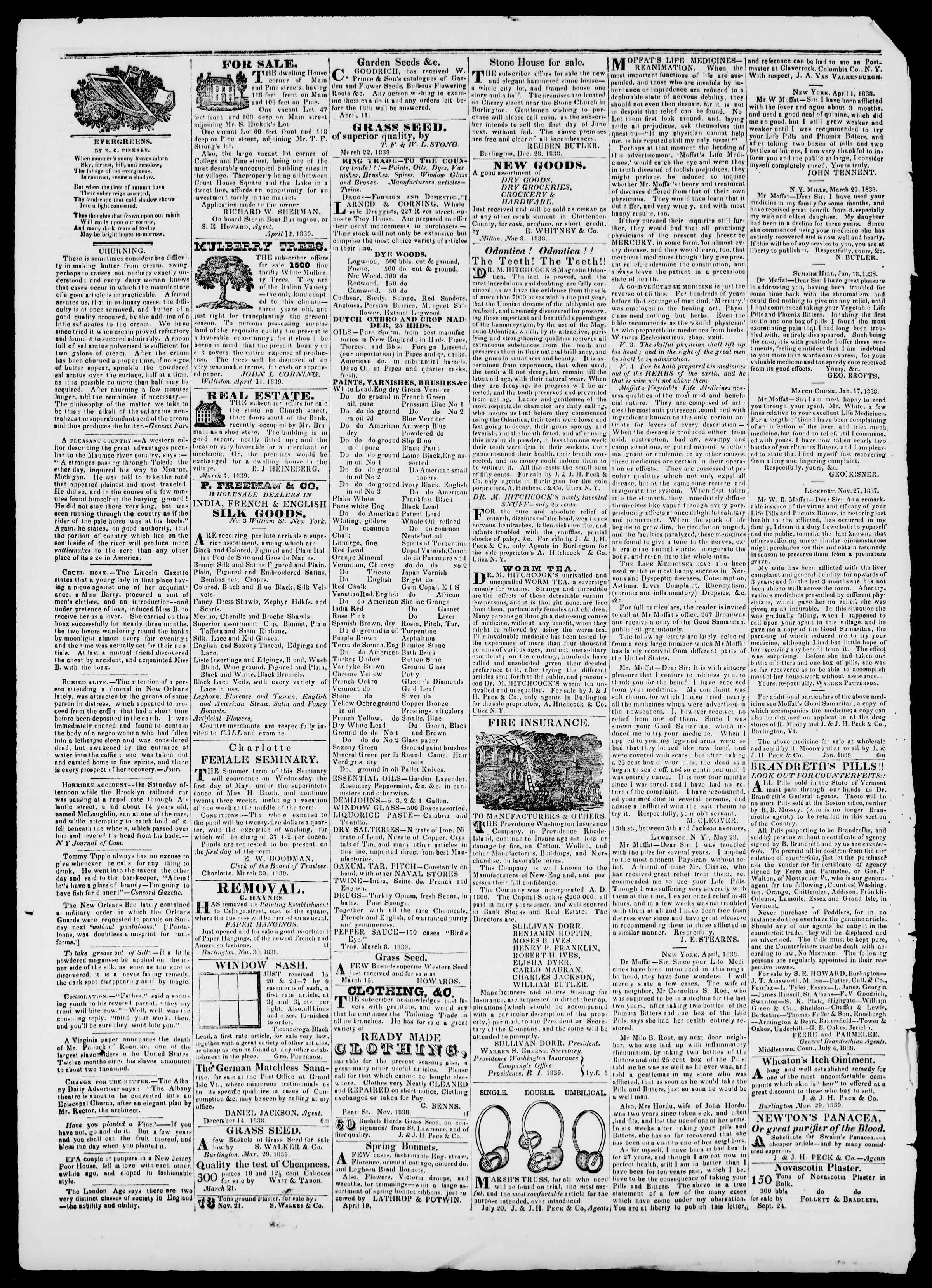 Newspaper of Burlington Free Press dated May 10, 1839 Page 4