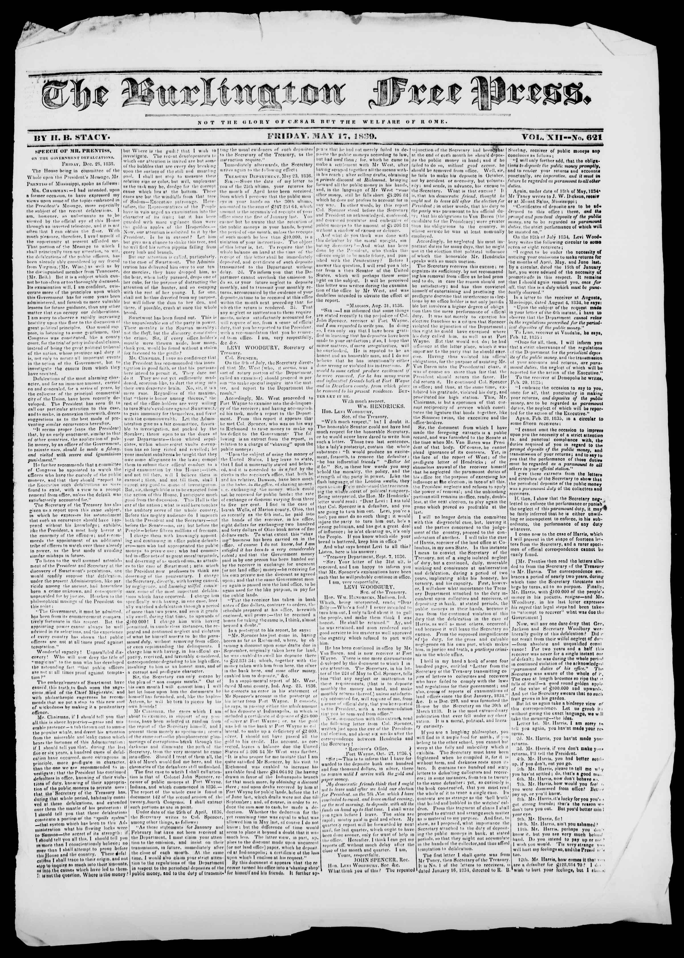 Newspaper of Burlington Free Press dated May 17, 1839 Page 1