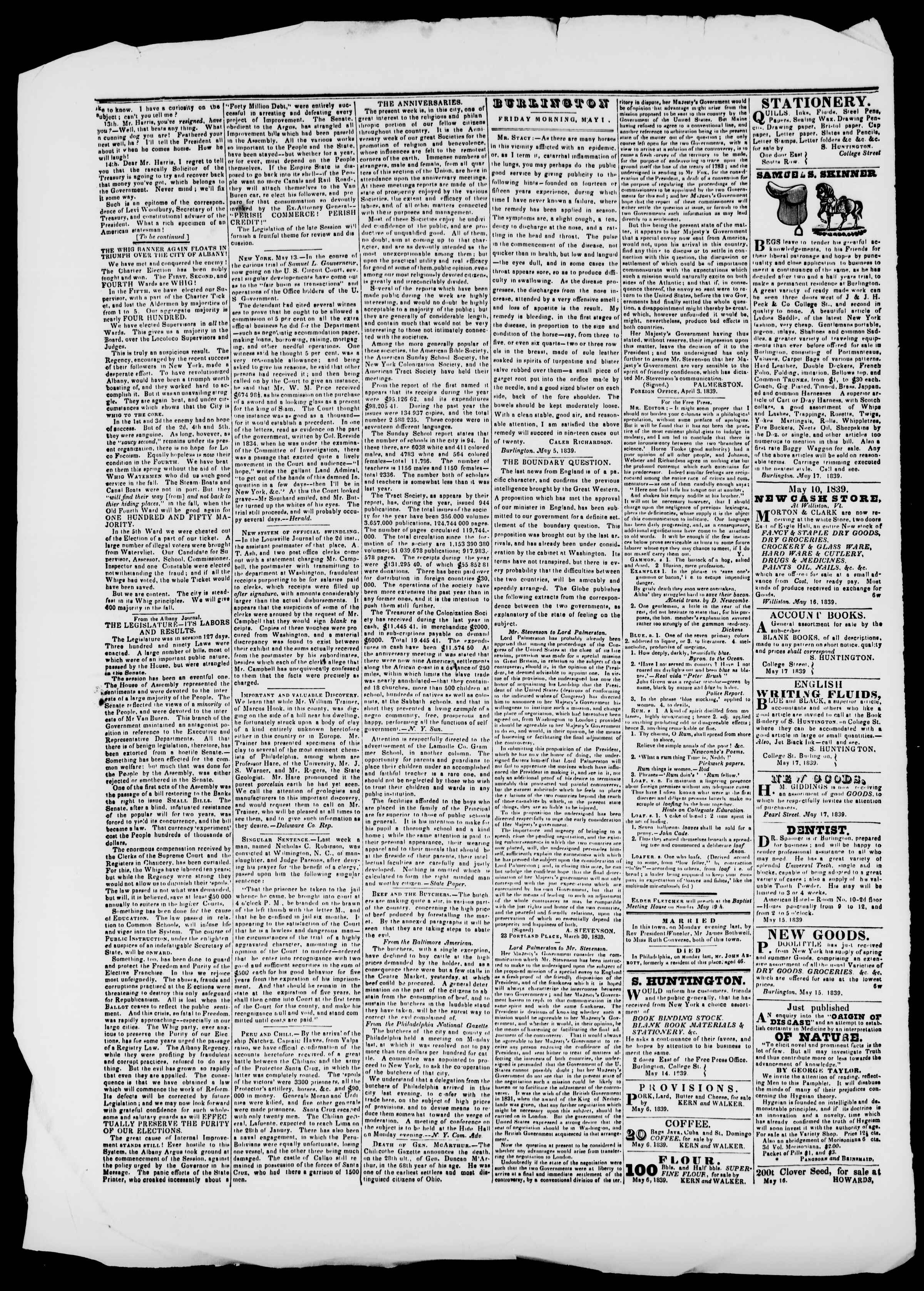 Newspaper of Burlington Free Press dated May 17, 1839 Page 2