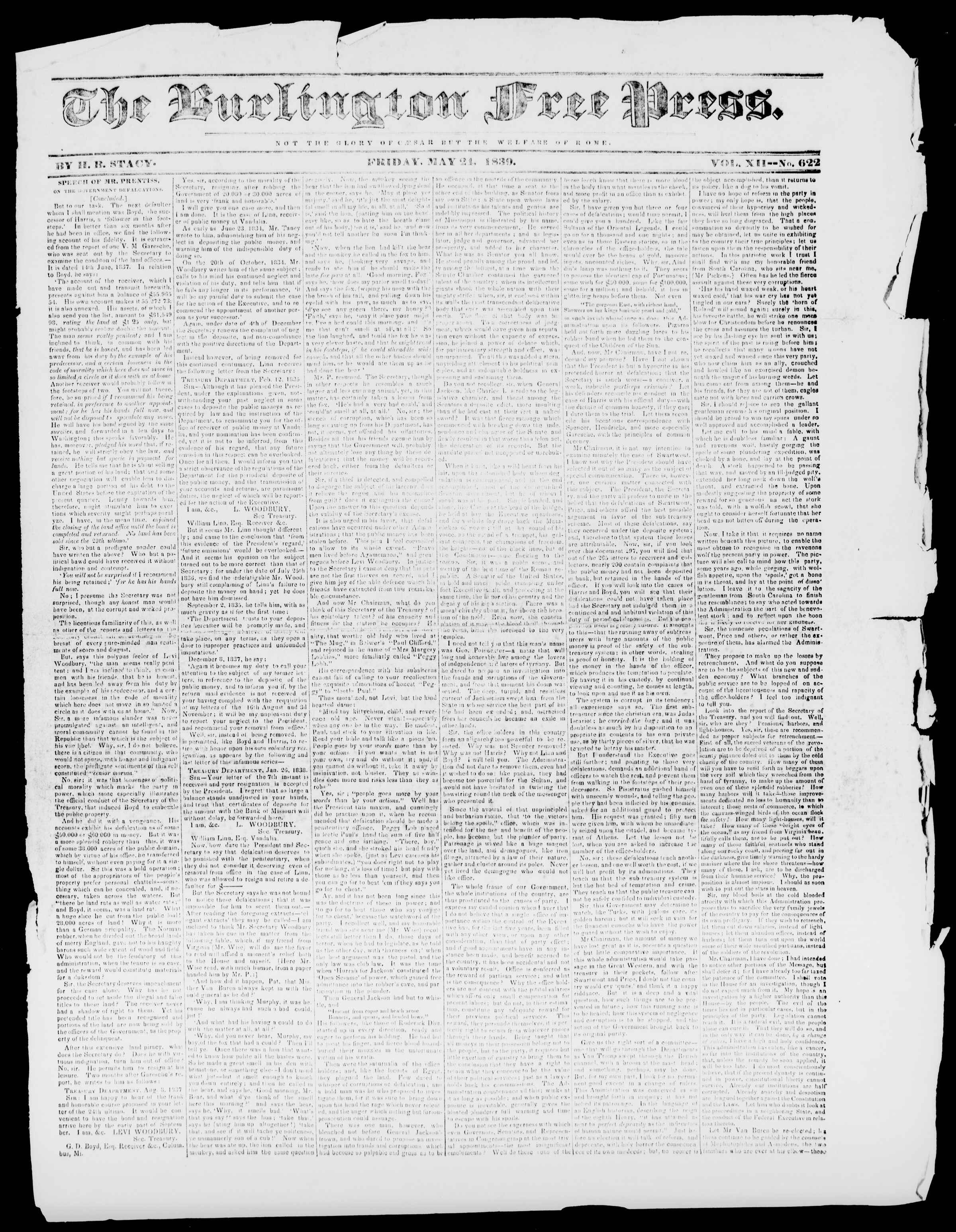 Newspaper of Burlington Free Press dated May 24, 1839 Page 1