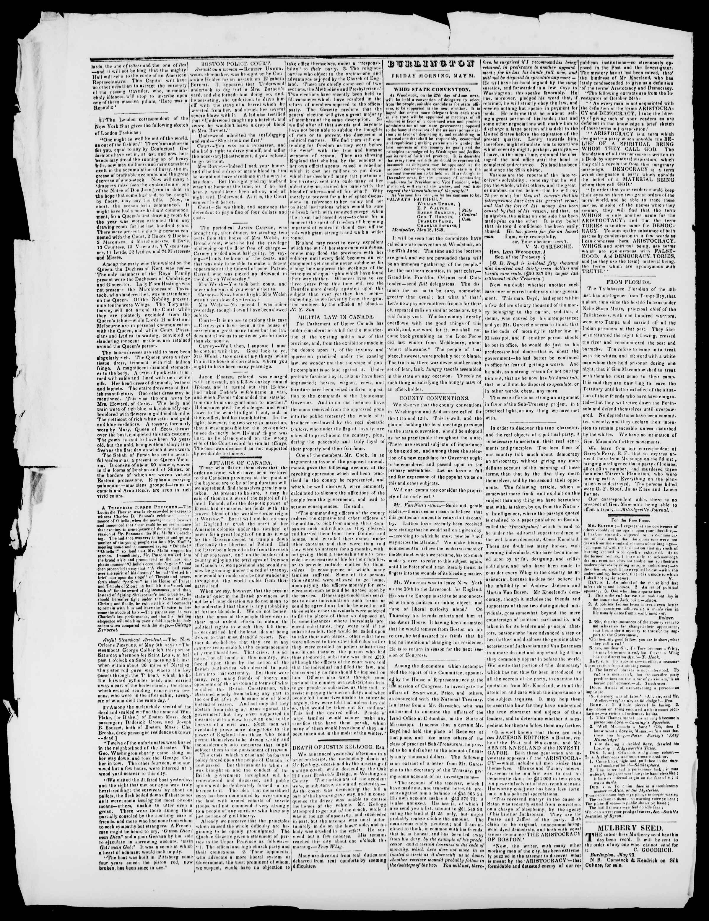 Newspaper of Burlington Free Press dated May 24, 1839 Page 2