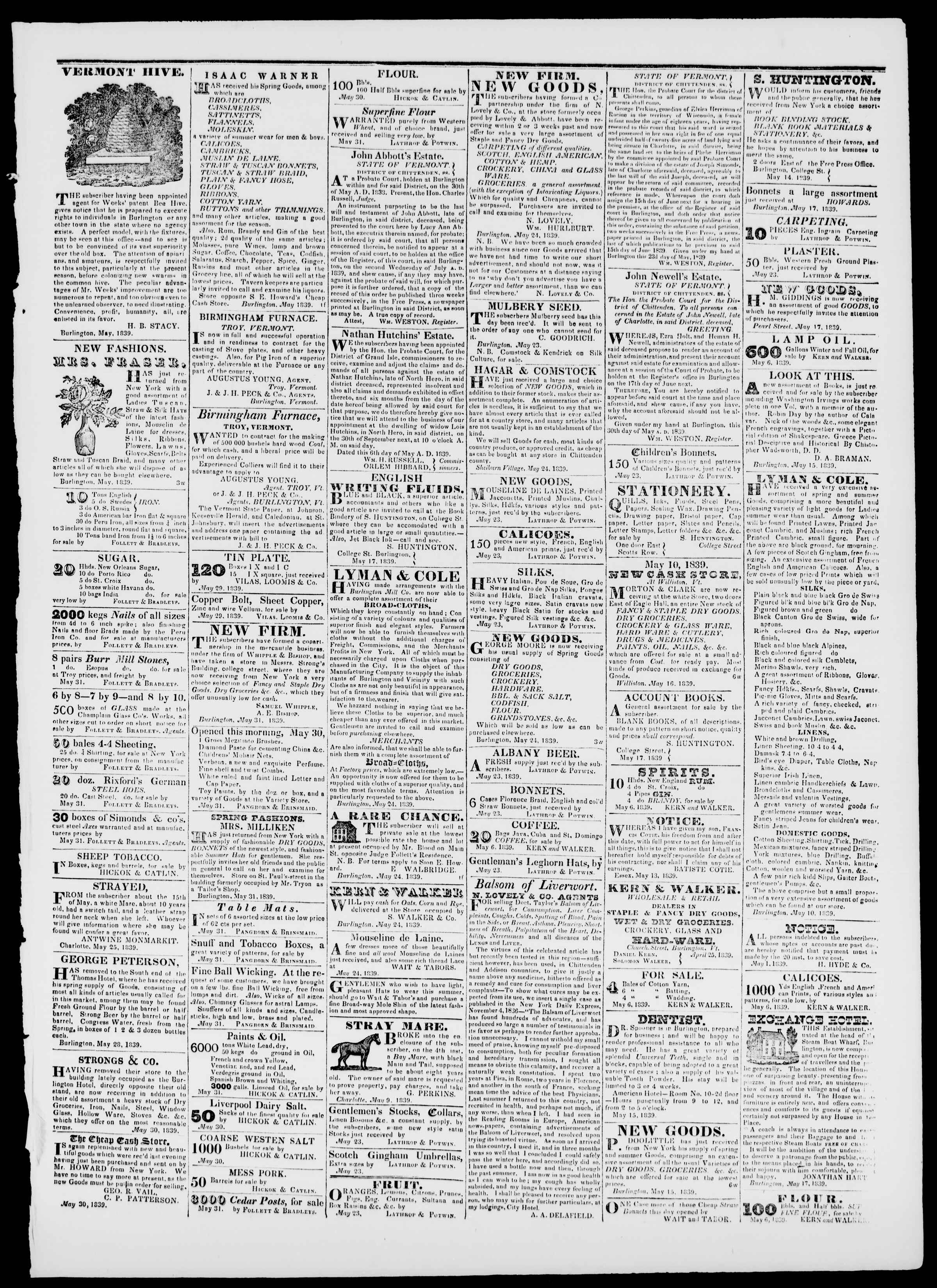 Newspaper of Burlington Free Press dated May 31, 1839 Page 3
