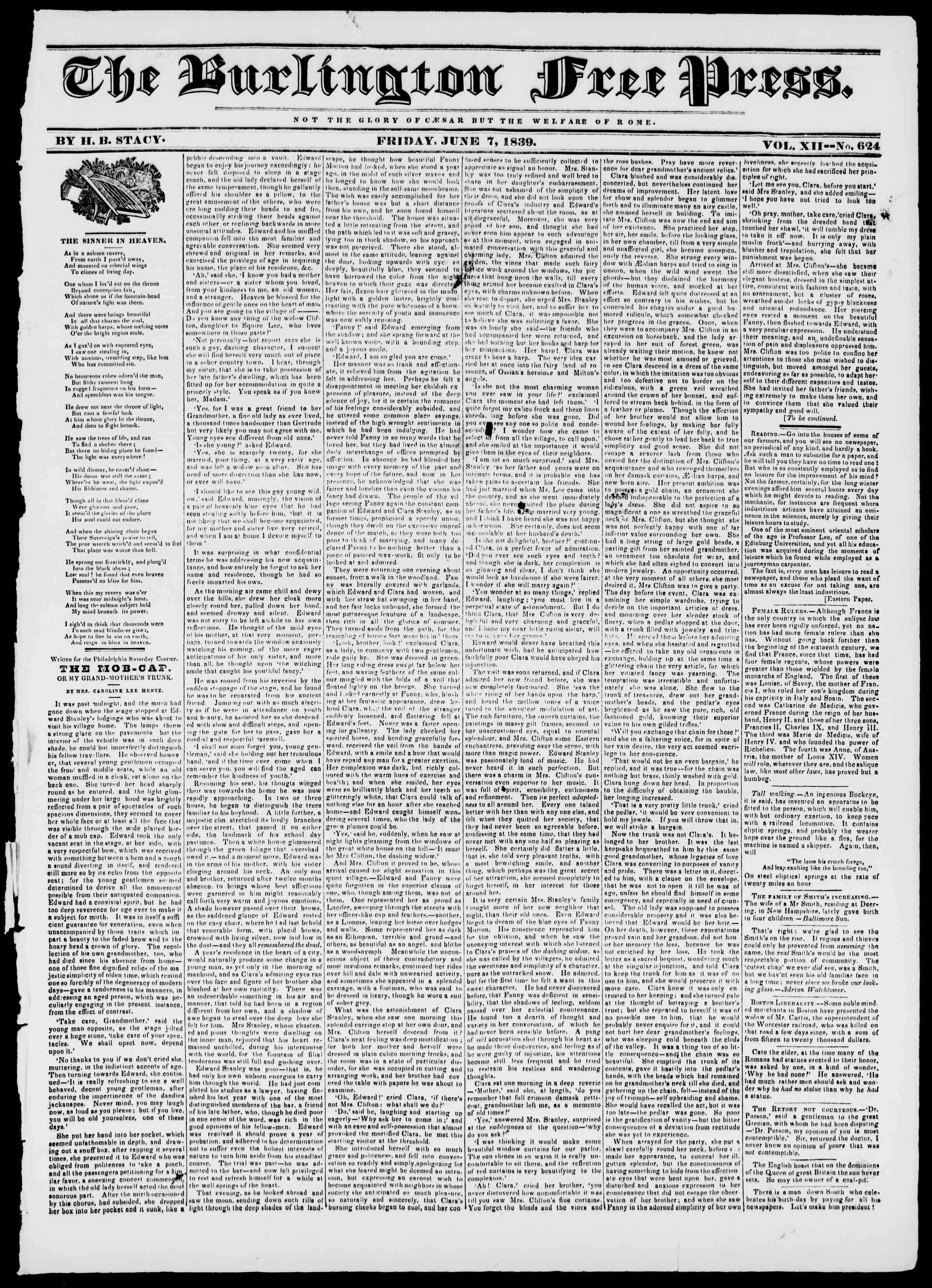 Newspaper of Burlington Free Press dated June 7, 1839 Page 1
