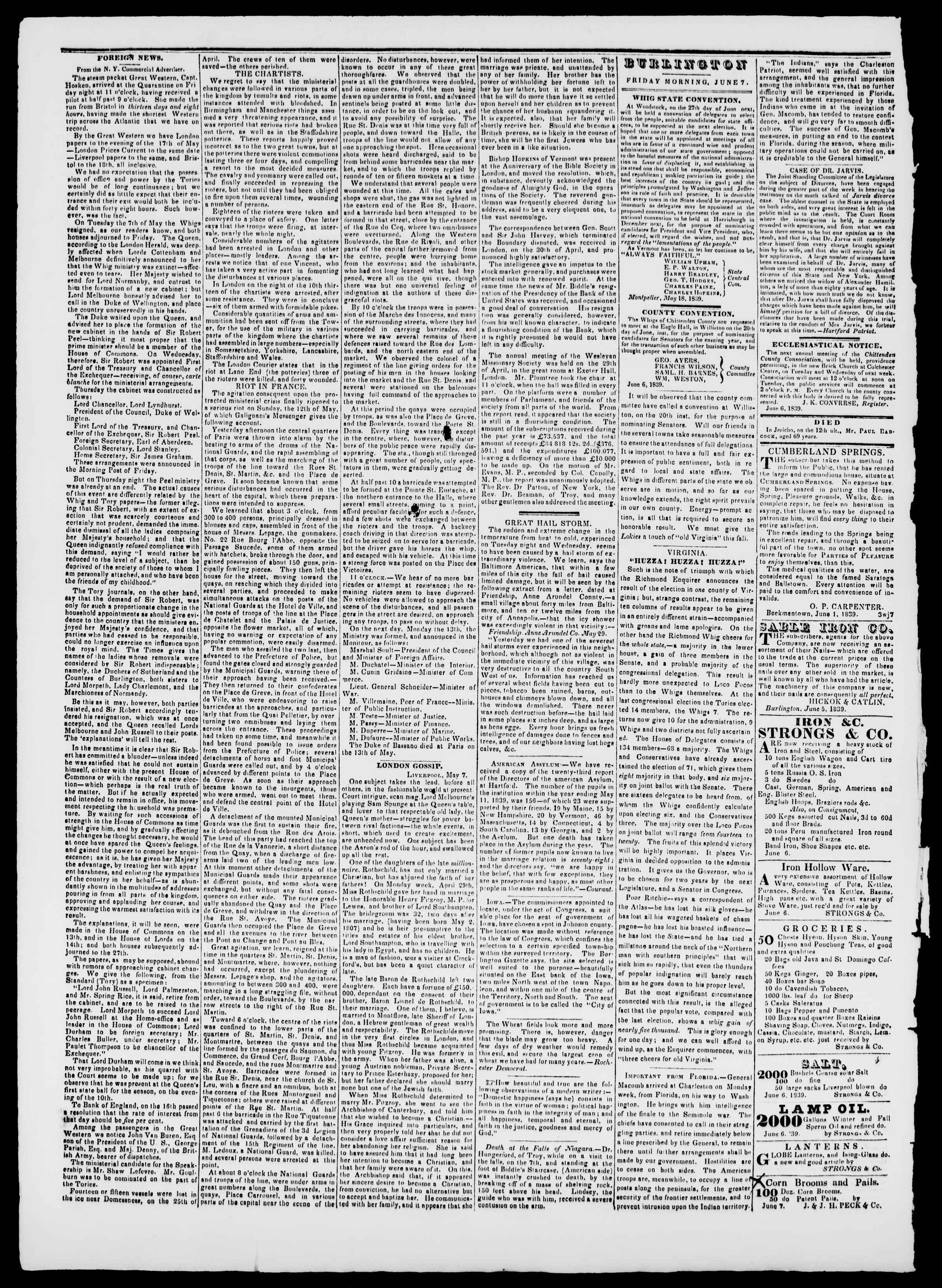 Newspaper of Burlington Free Press dated June 7, 1839 Page 2
