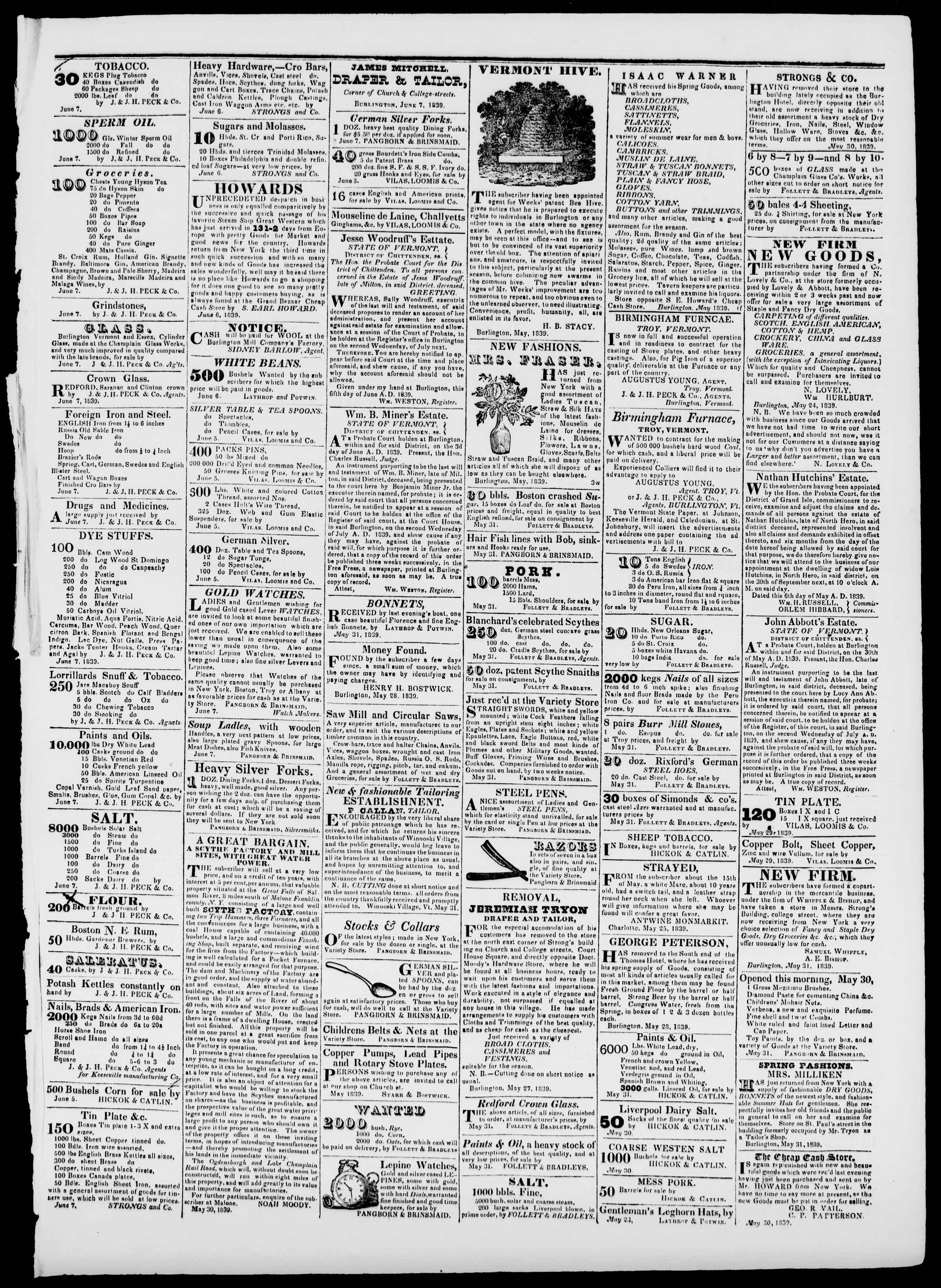 Newspaper of Burlington Free Press dated June 7, 1839 Page 3