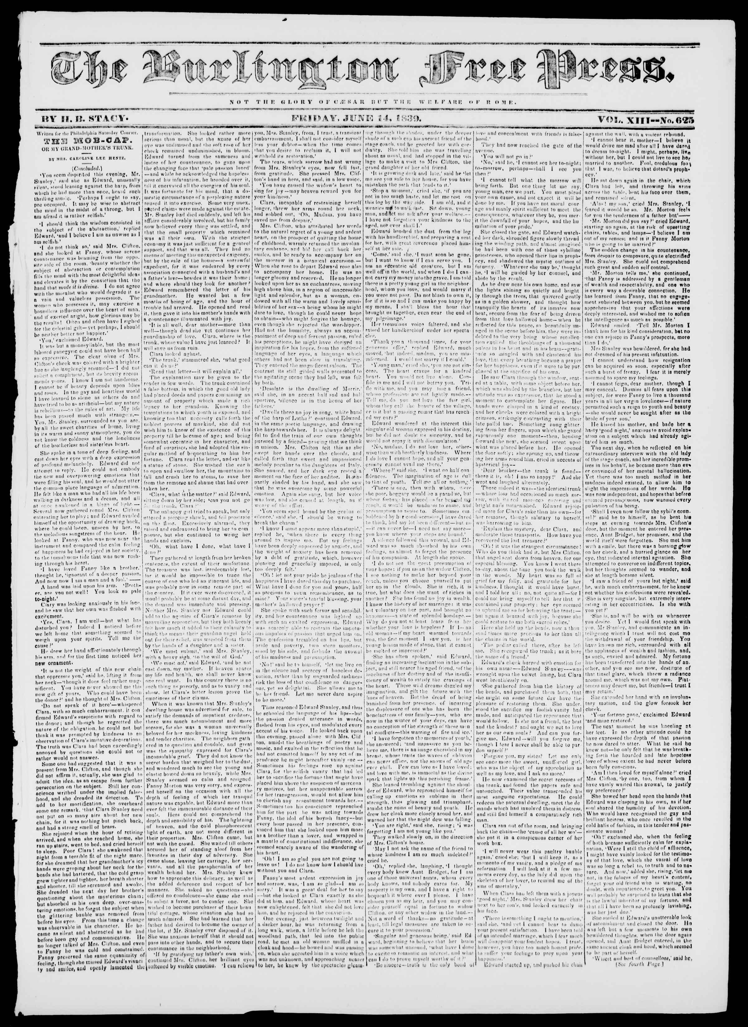 Newspaper of Burlington Free Press dated 14 Haziran 1839 Page 1