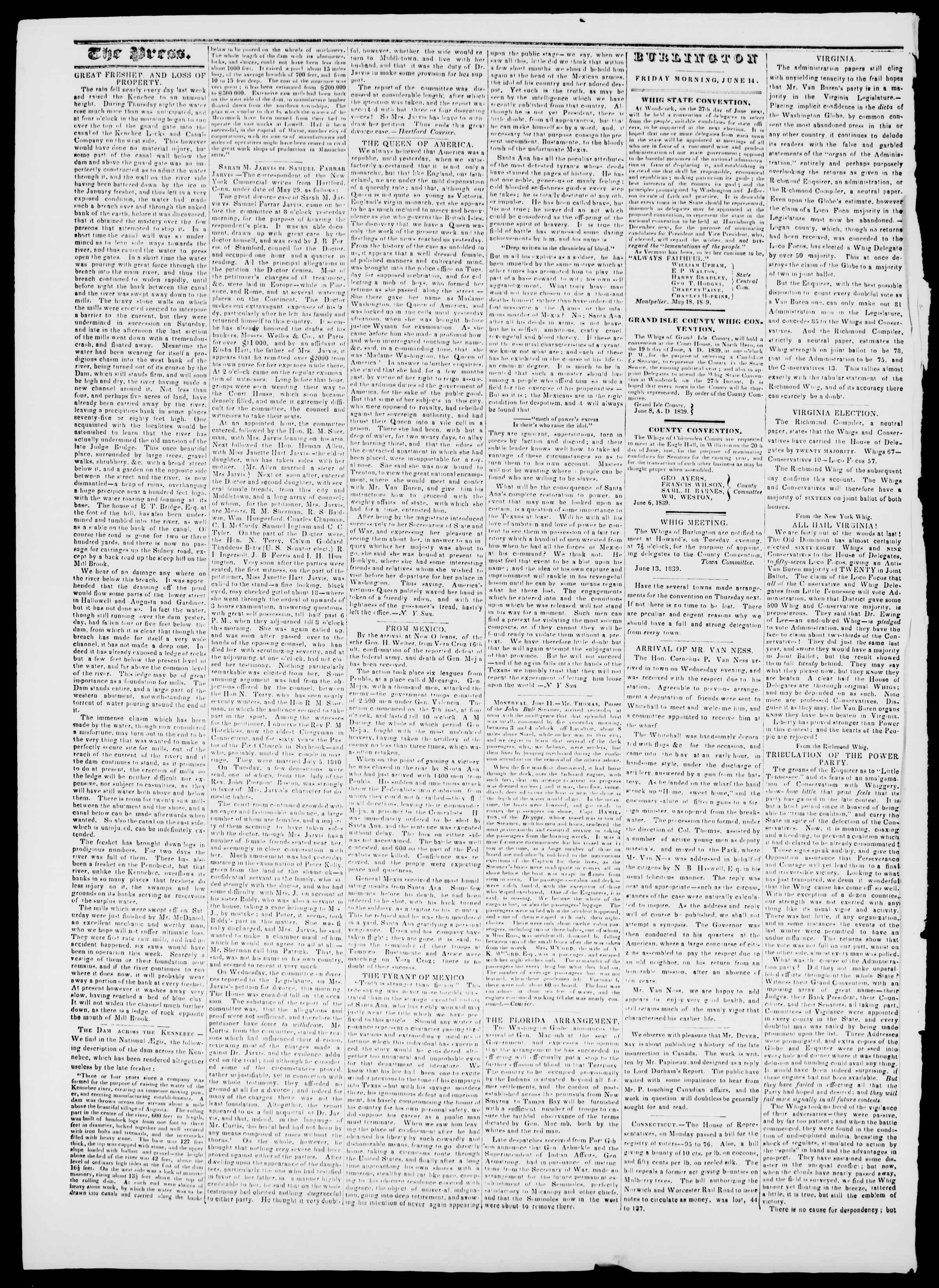 Newspaper of Burlington Free Press dated June 14, 1839 Page 2