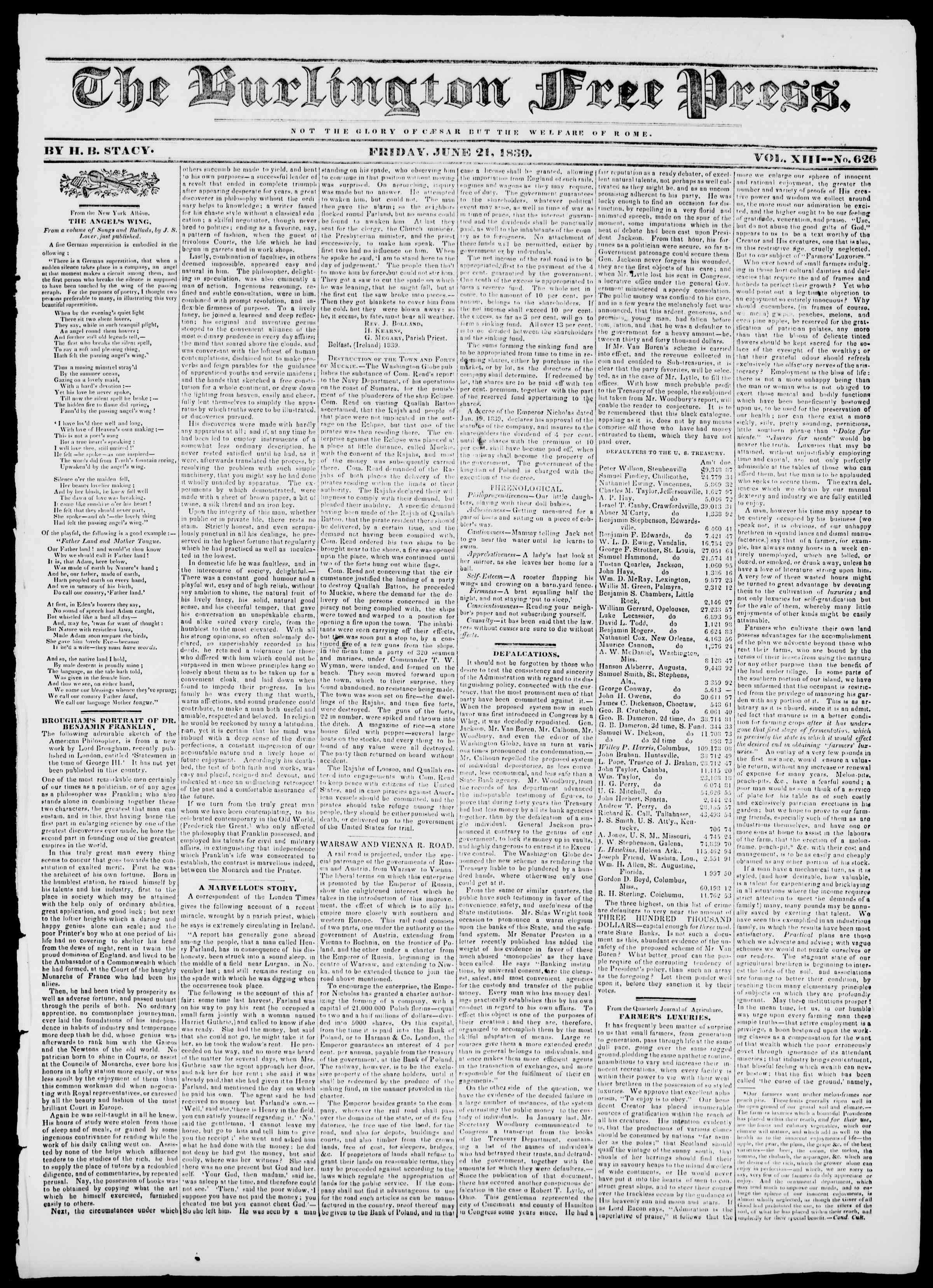 Newspaper of Burlington Free Press dated June 21, 1839 Page 1