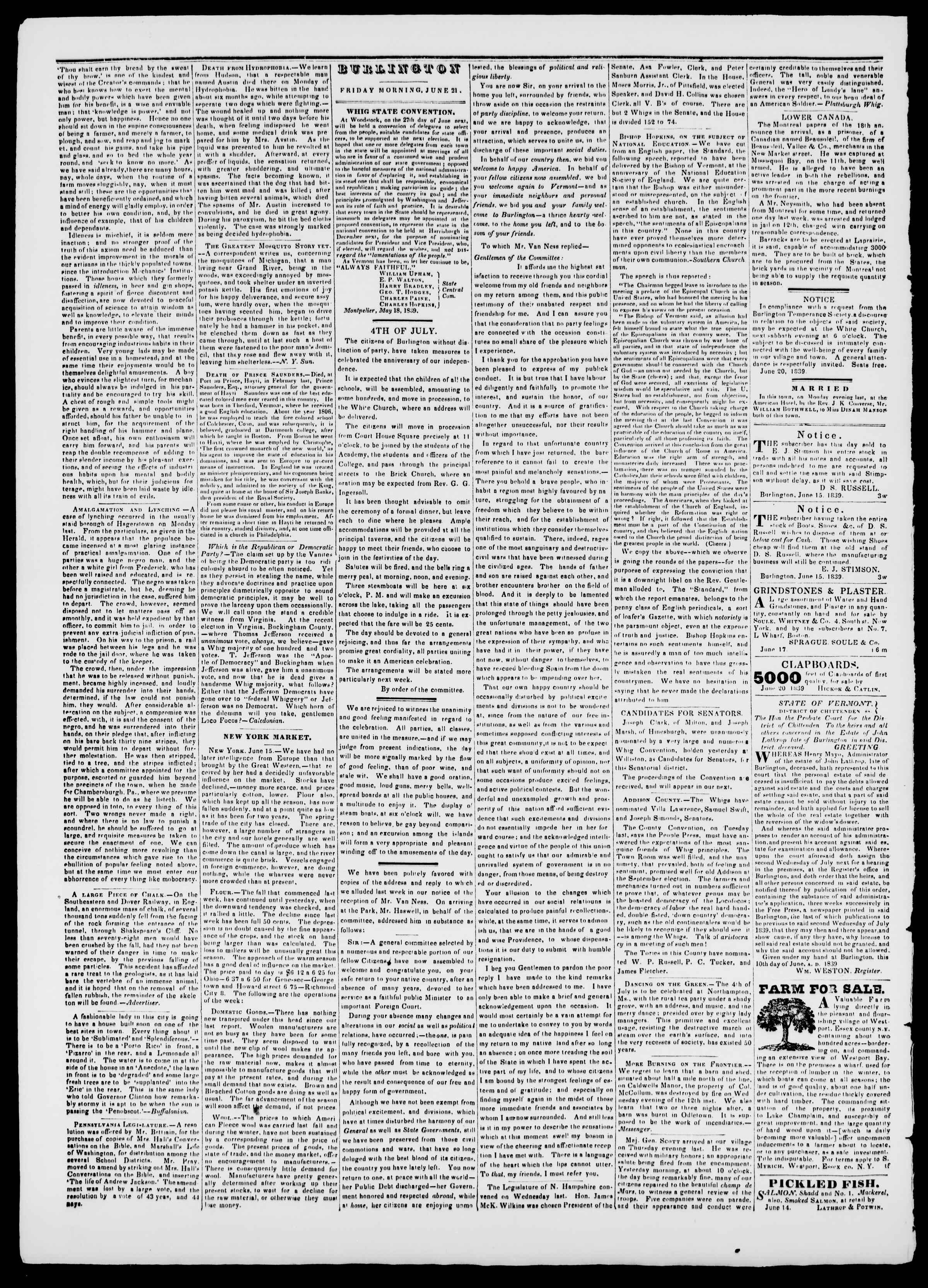 Newspaper of Burlington Free Press dated June 21, 1839 Page 2