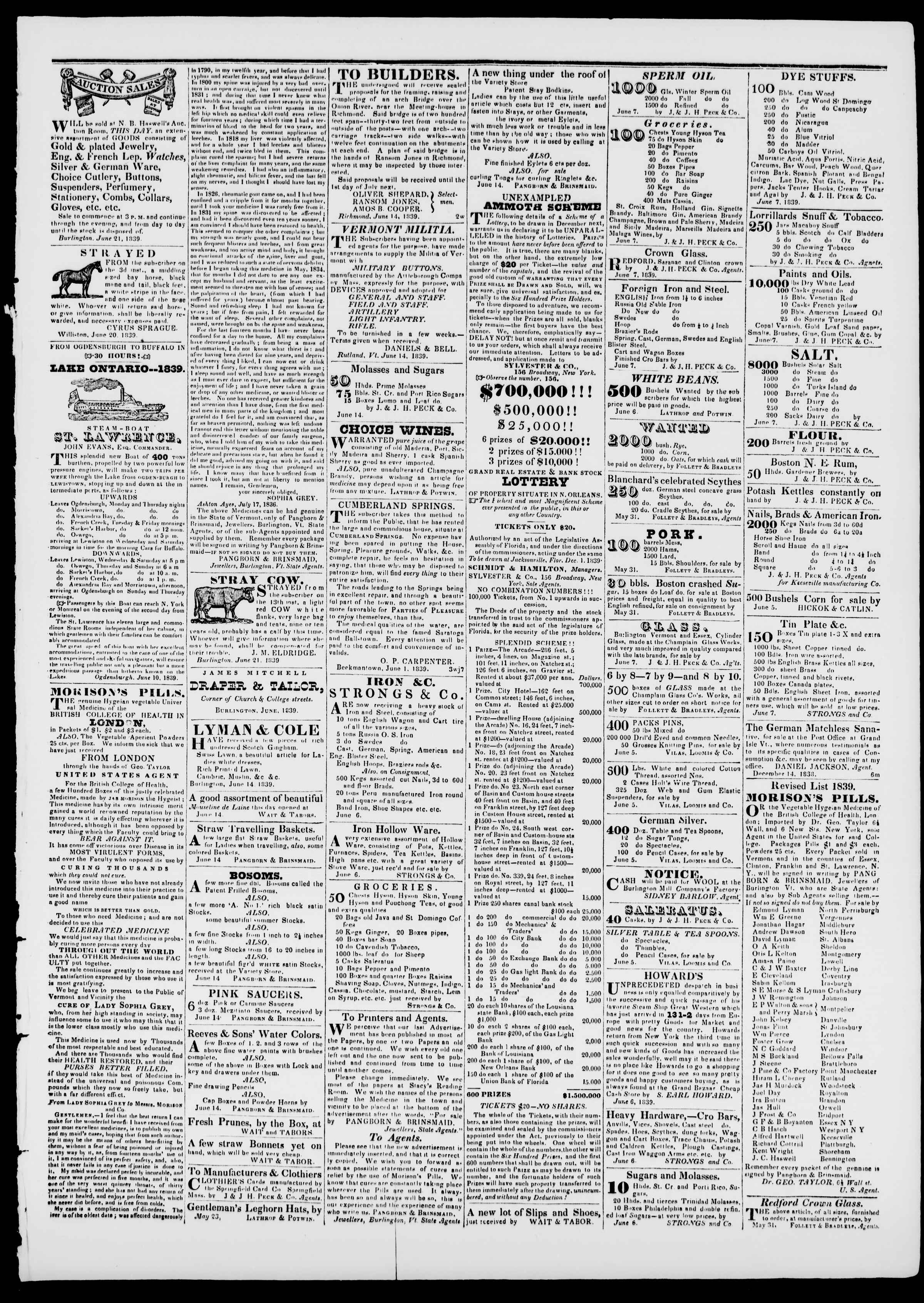 Newspaper of Burlington Free Press dated June 21, 1839 Page 3
