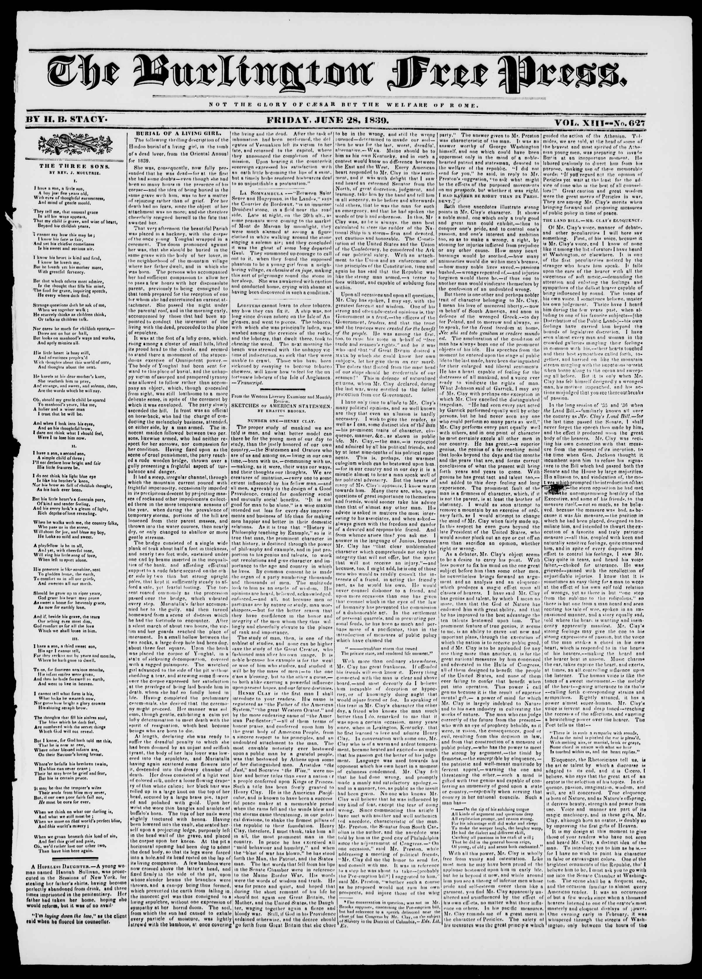 Newspaper of Burlington Free Press dated June 28, 1839 Page 1