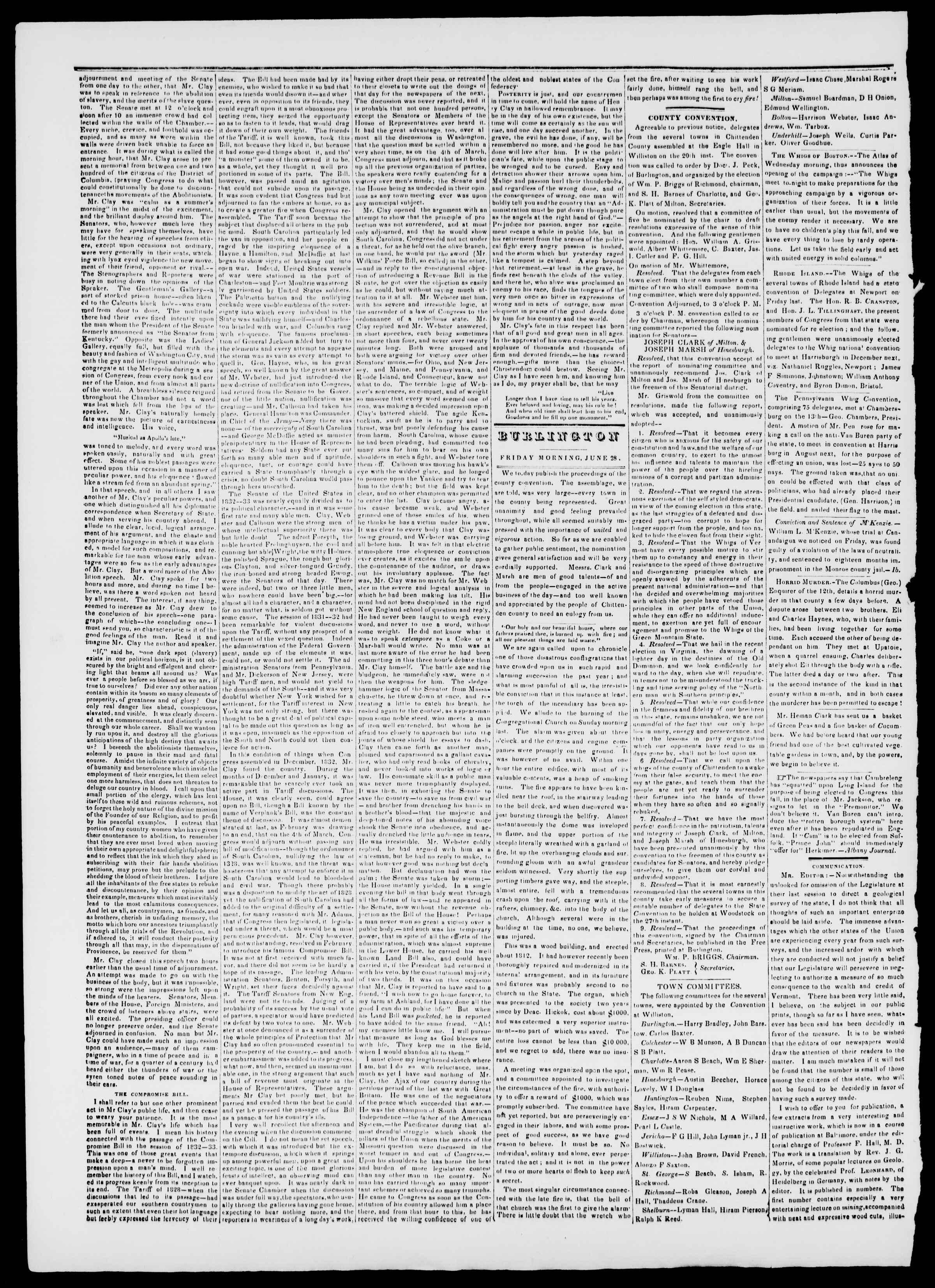 Newspaper of Burlington Free Press dated June 28, 1839 Page 2