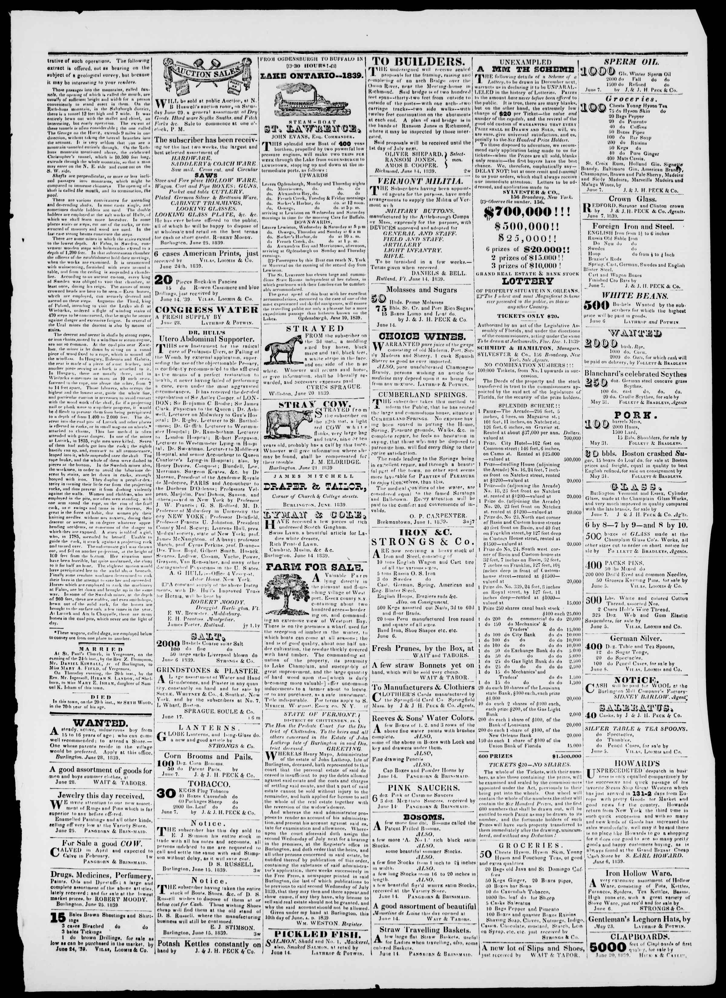 Newspaper of Burlington Free Press dated June 28, 1839 Page 3
