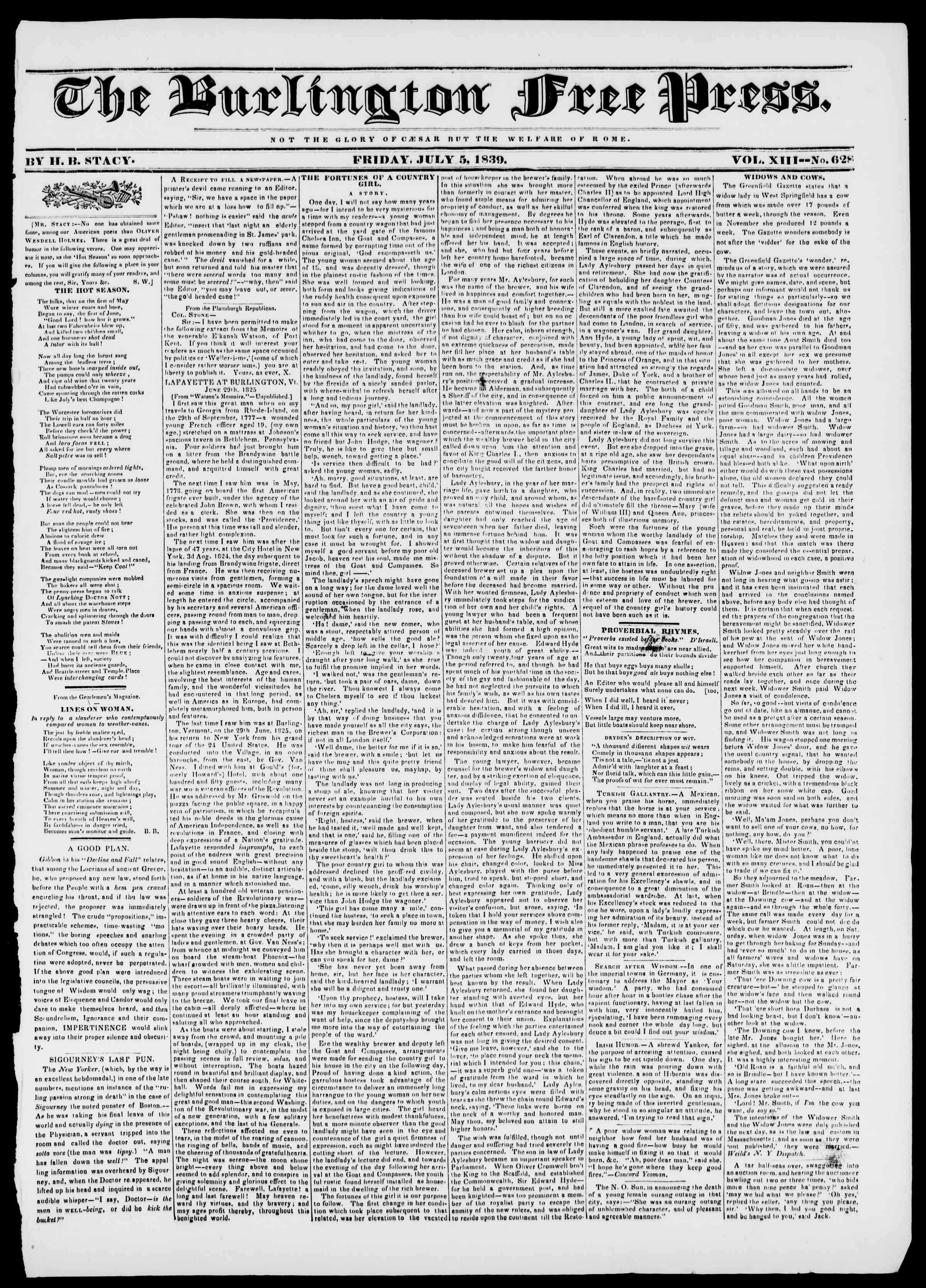 Newspaper of Burlington Free Press dated July 5, 1839 Page 1