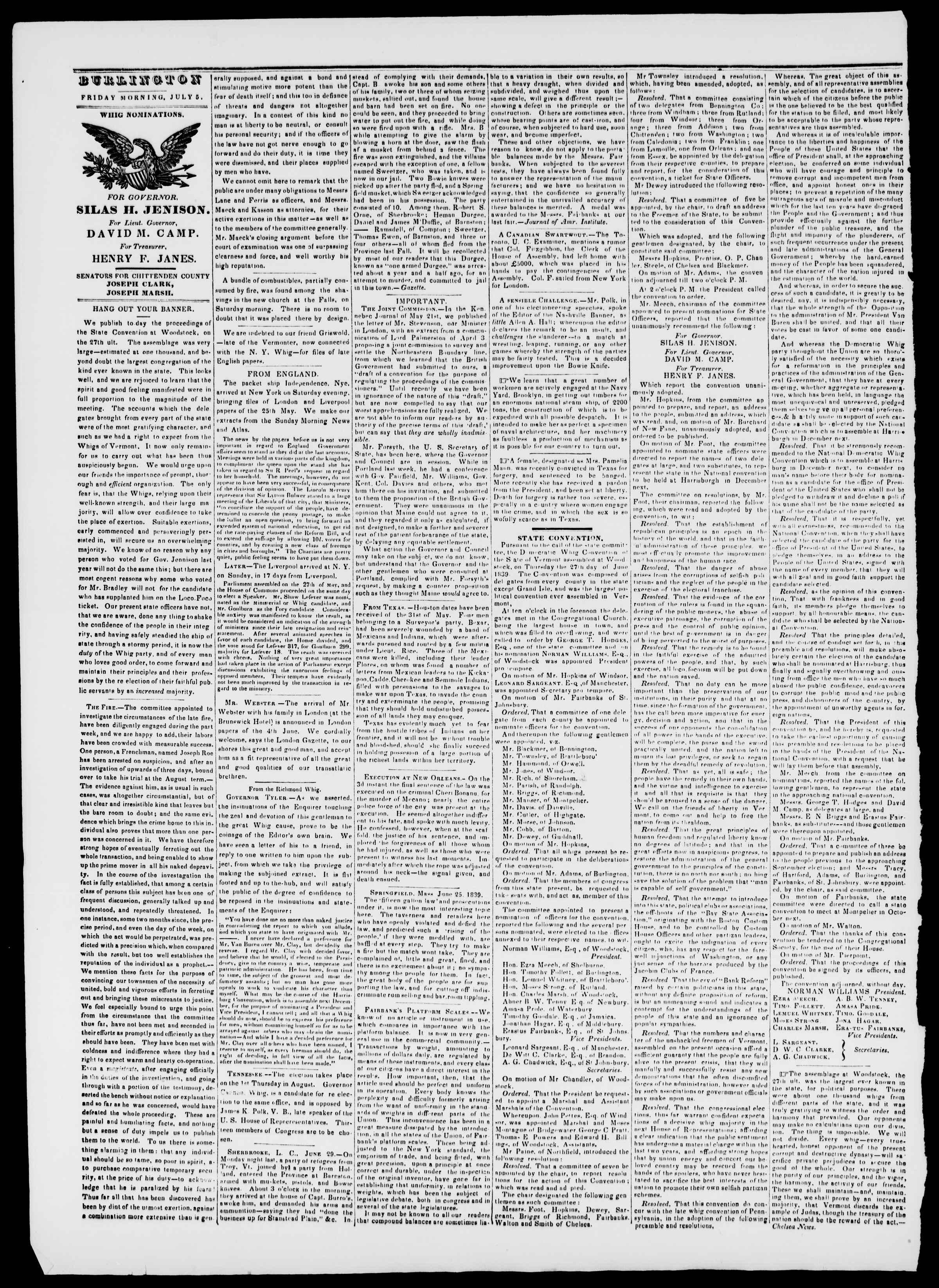 Newspaper of Burlington Free Press dated July 5, 1839 Page 2