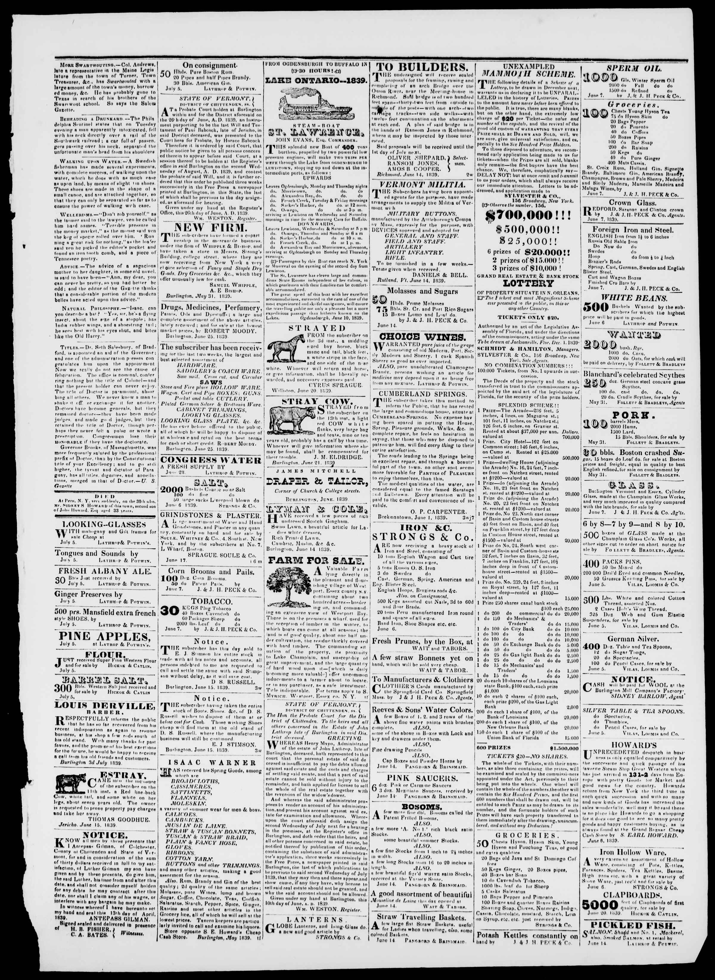 Newspaper of Burlington Free Press dated 5 Temmuz 1839 Page 3