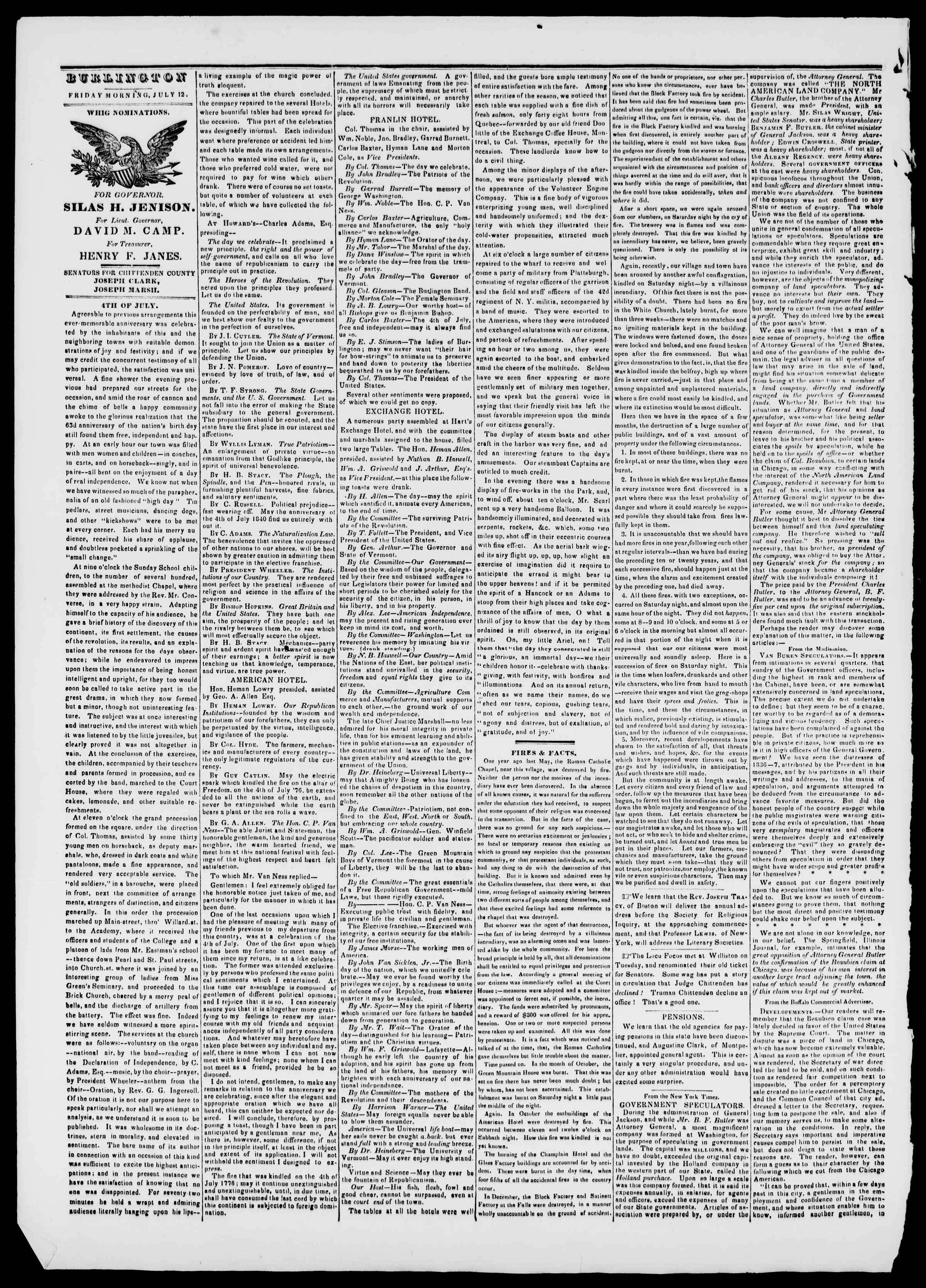 Newspaper of Burlington Free Press dated July 12, 1839 Page 2