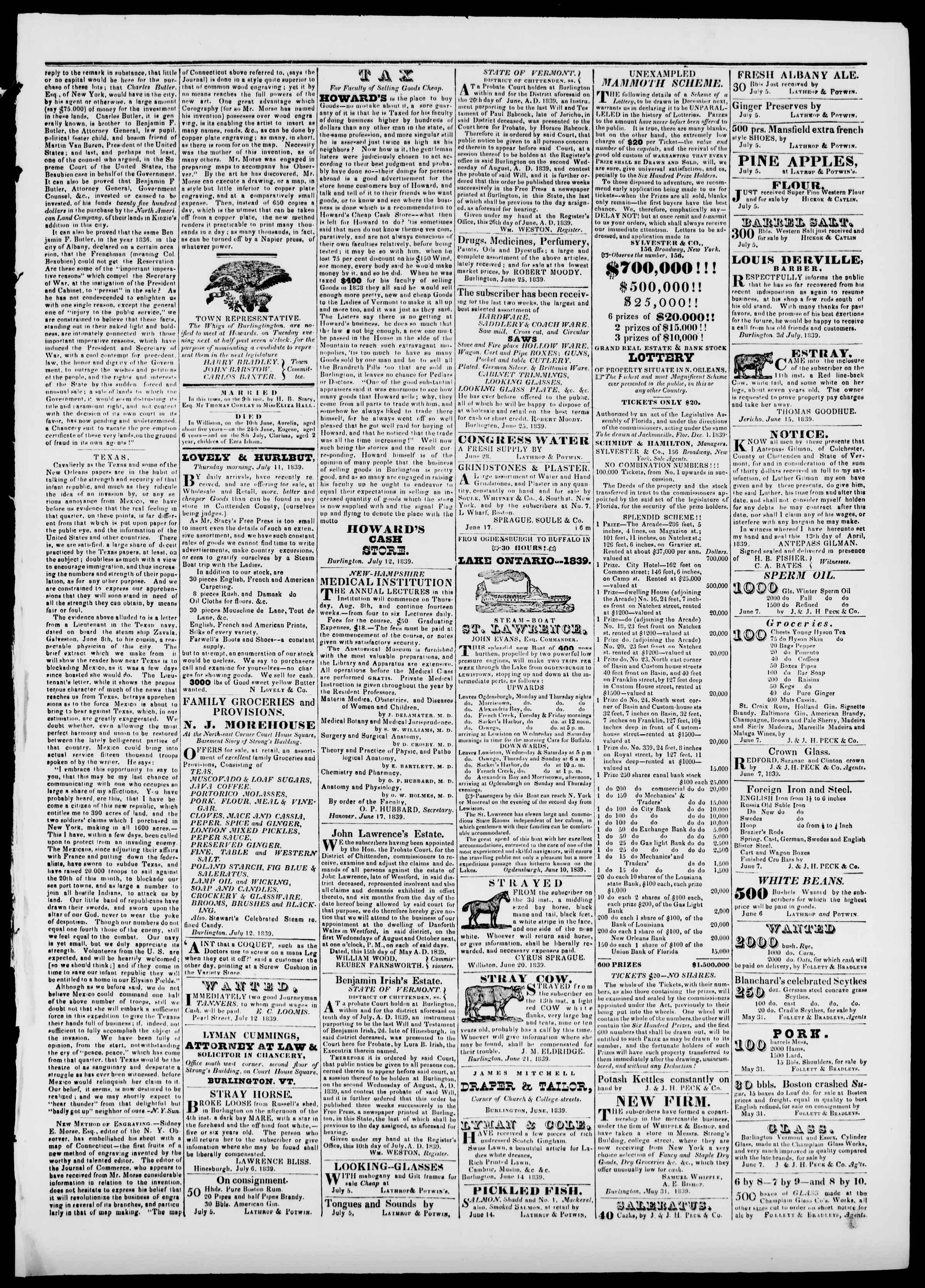 Newspaper of Burlington Free Press dated July 12, 1839 Page 3