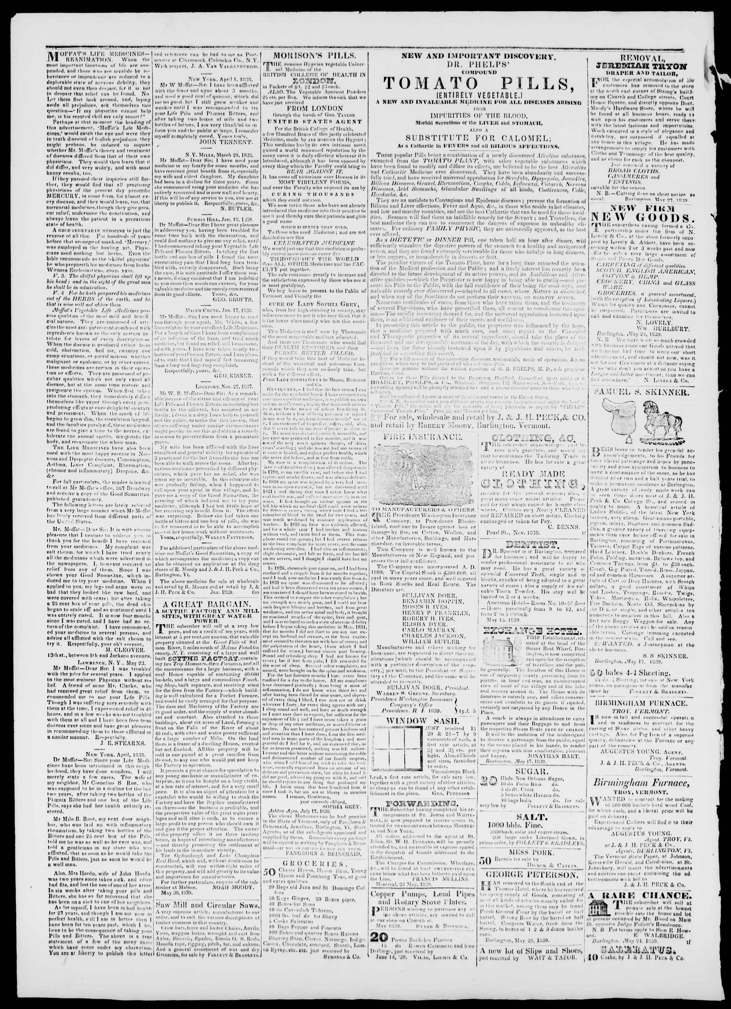 Newspaper of Burlington Free Press dated July 12, 1839 Page 4