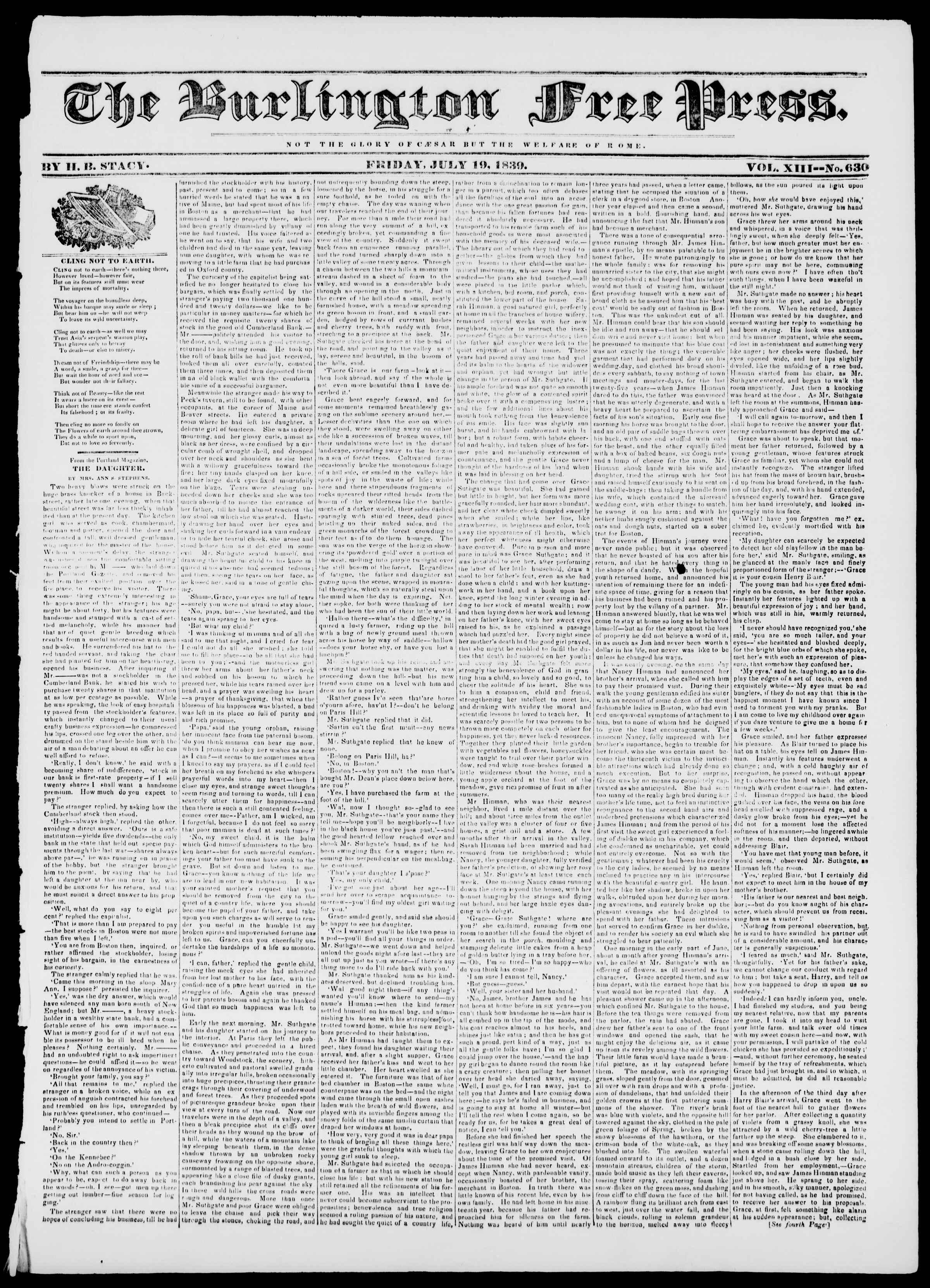 Newspaper of Burlington Free Press dated July 19, 1839 Page 1