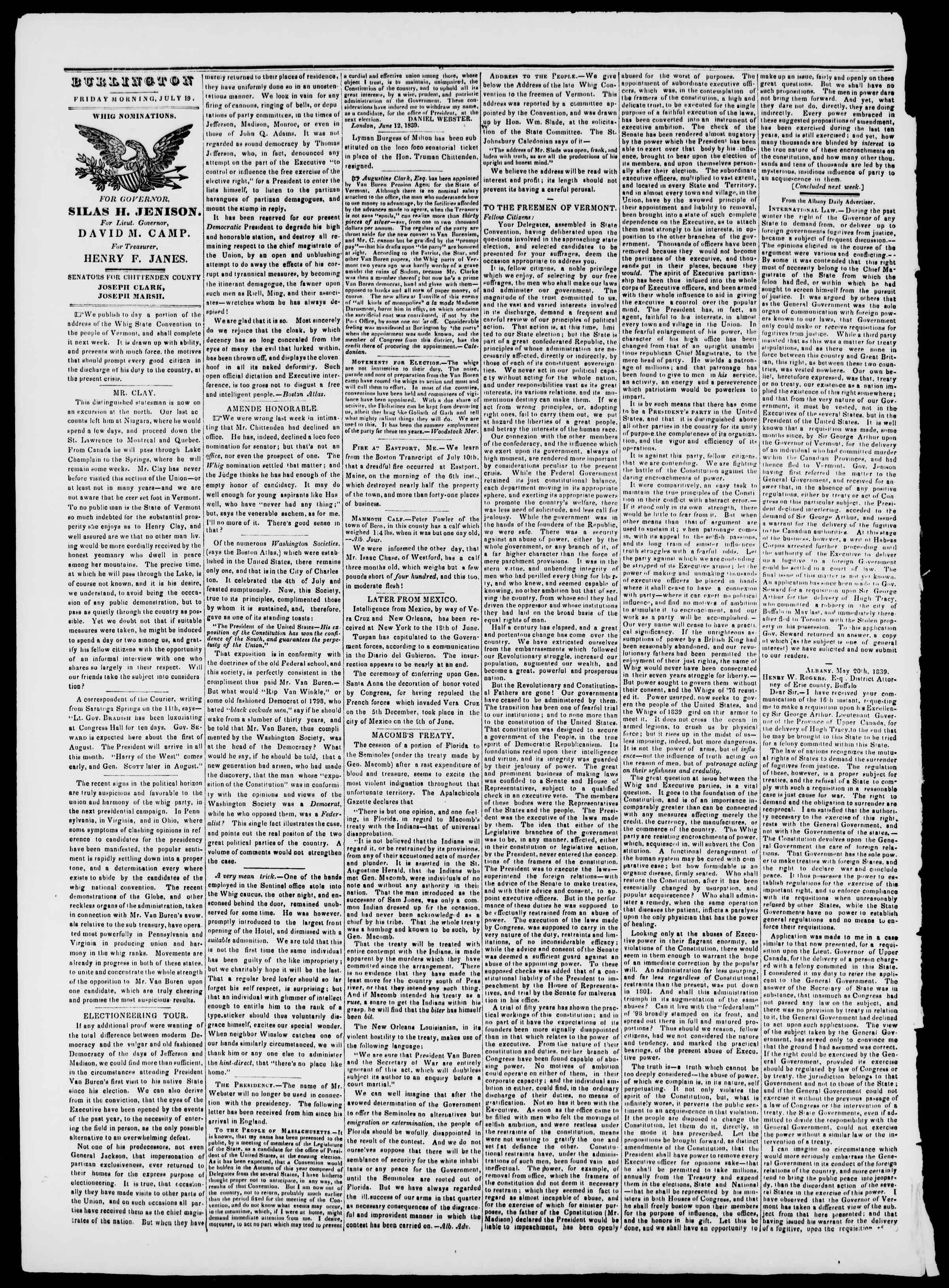 Newspaper of Burlington Free Press dated July 19, 1839 Page 2