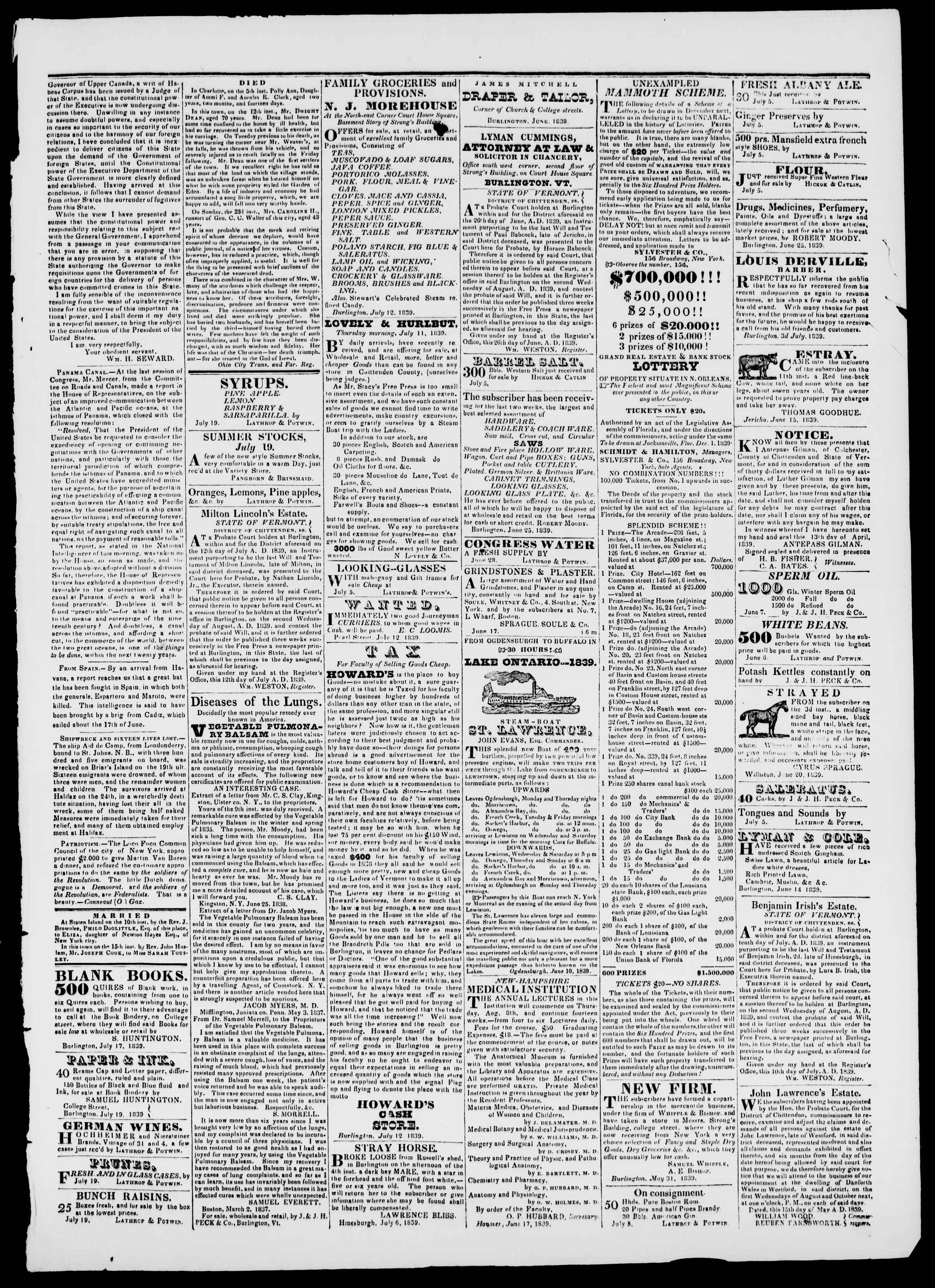 Newspaper of Burlington Free Press dated July 19, 1839 Page 3