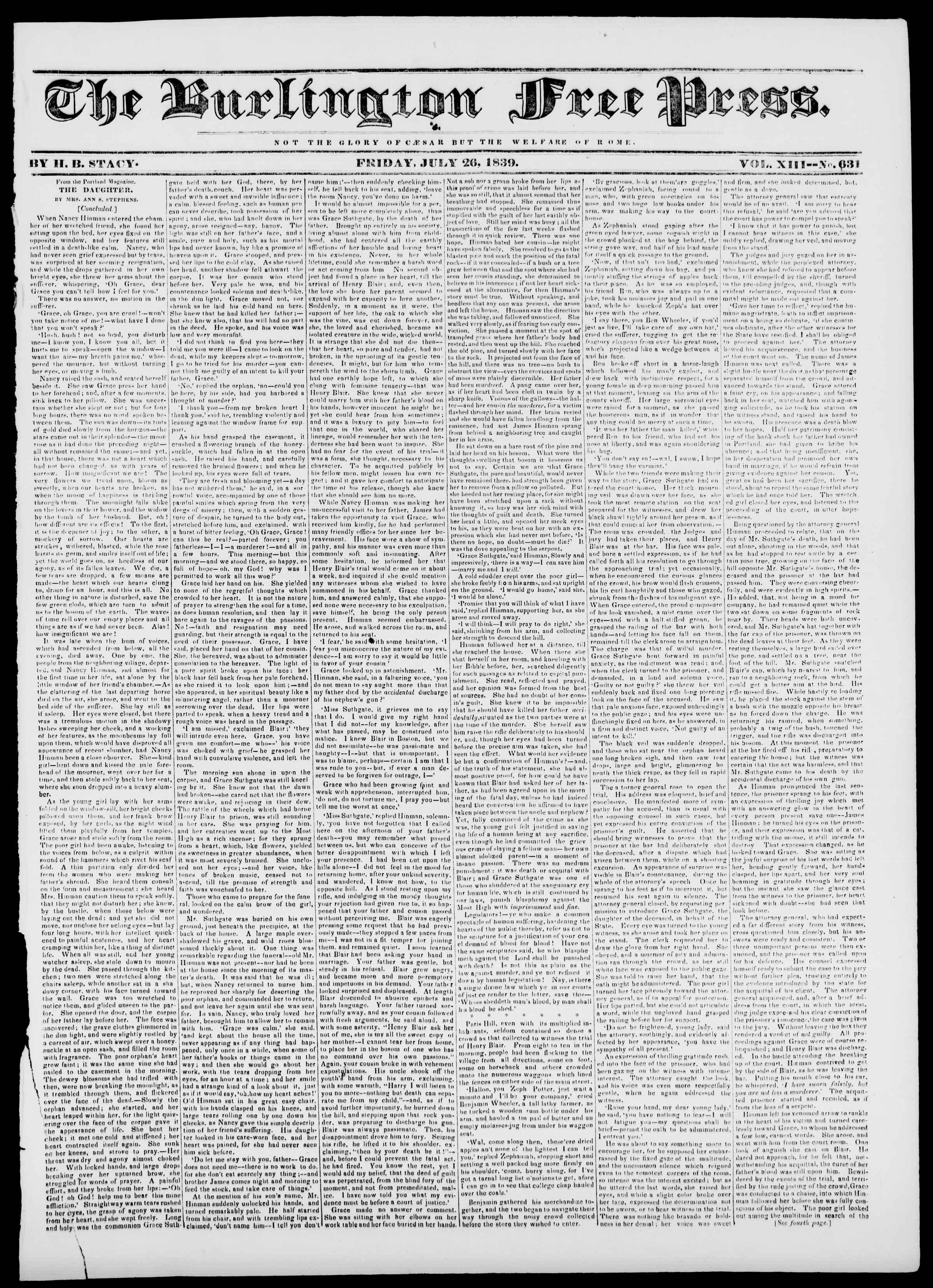 Newspaper of Burlington Free Press dated July 26, 1839 Page 1